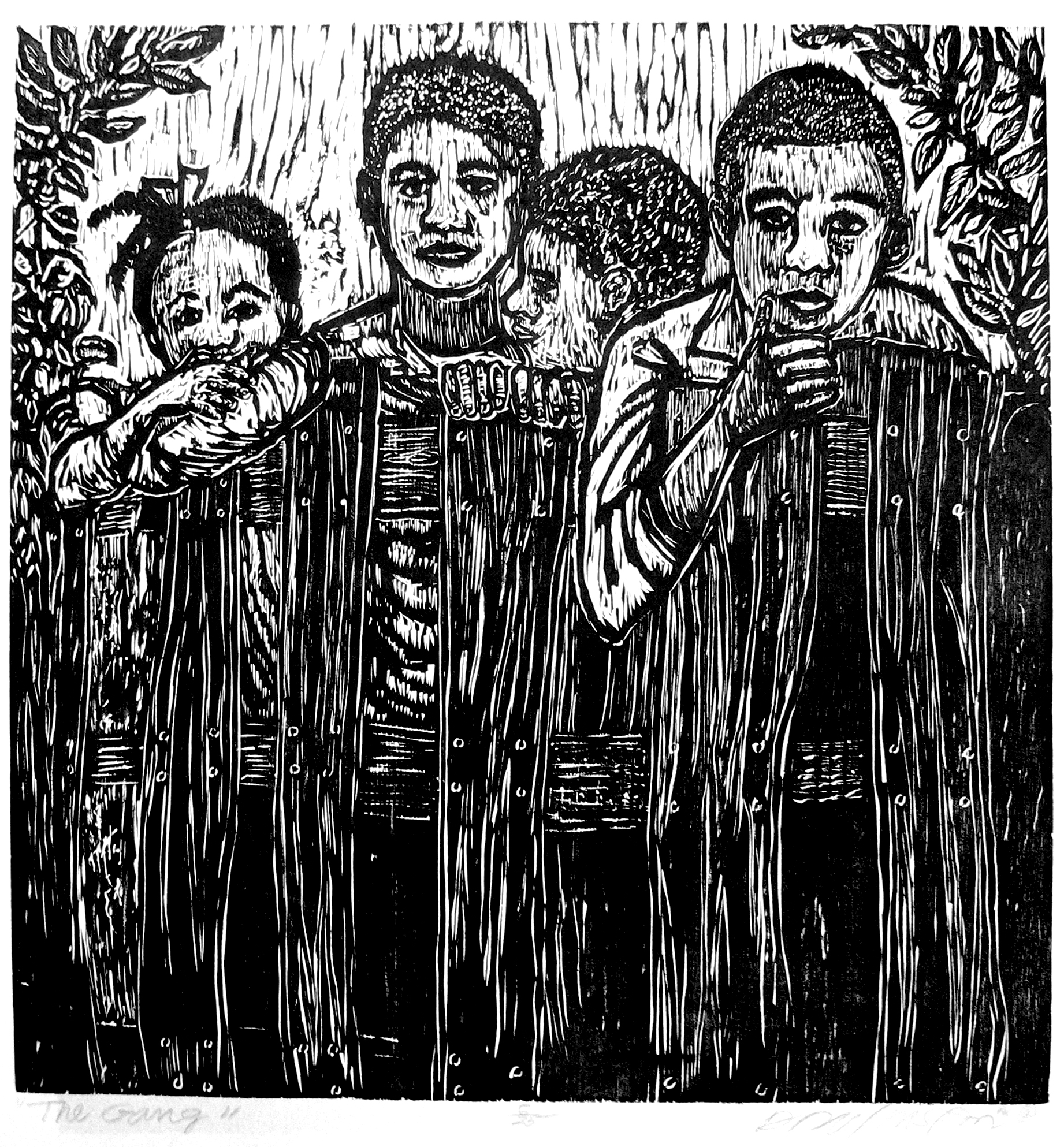 Dennis Winston ,  The Gang , 2007                              Woodcut on Mulberry paper, edition of 25 Image courtesy of the artist