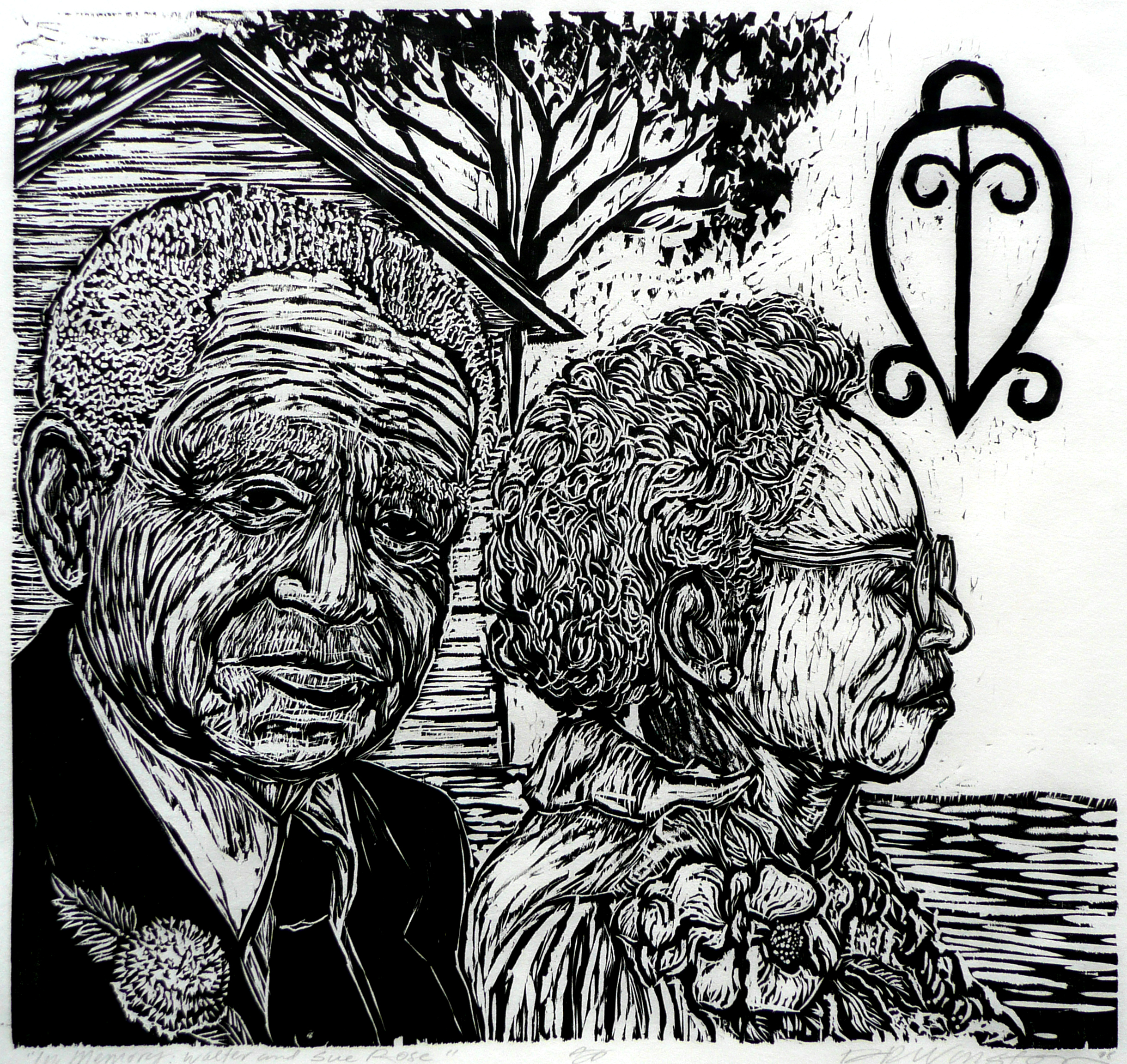 Dennis Winston ,  Walter and Sue Rose , 2009                          Woodcut on Hosho paper, edition of 25 Image courtesy of the artist