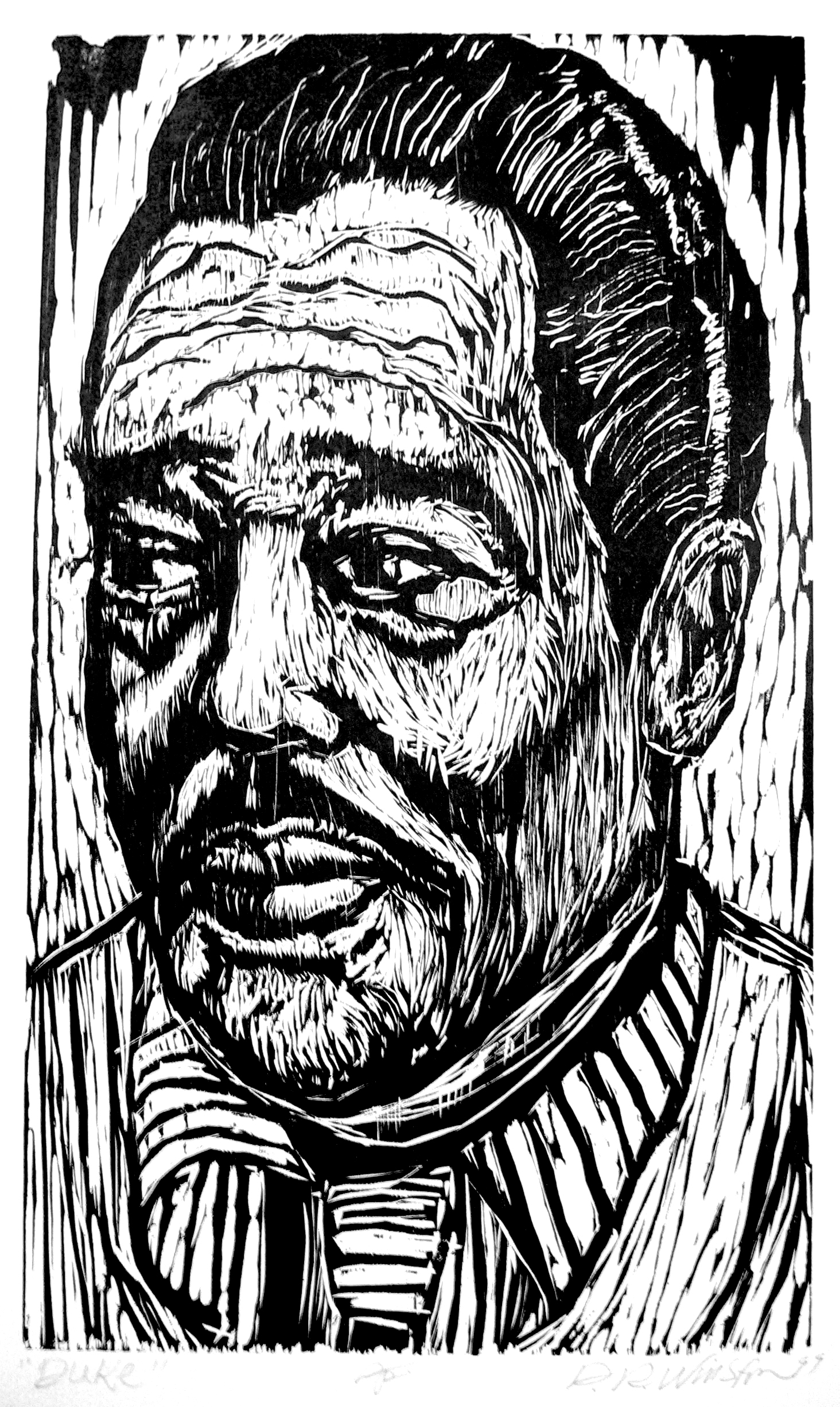 Dennis Winston ,  Duke , 2002                            Woodcut on Hosho paper, edition of 25 Image courtesy of the artist