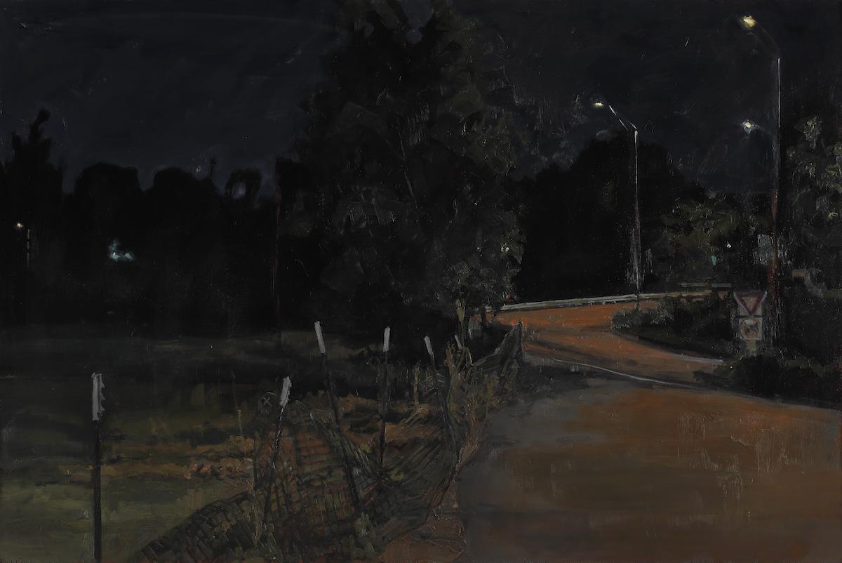 Thomas Van Auken , On Ramp , 2014                Oil on panel Photo by David Hunter Hale