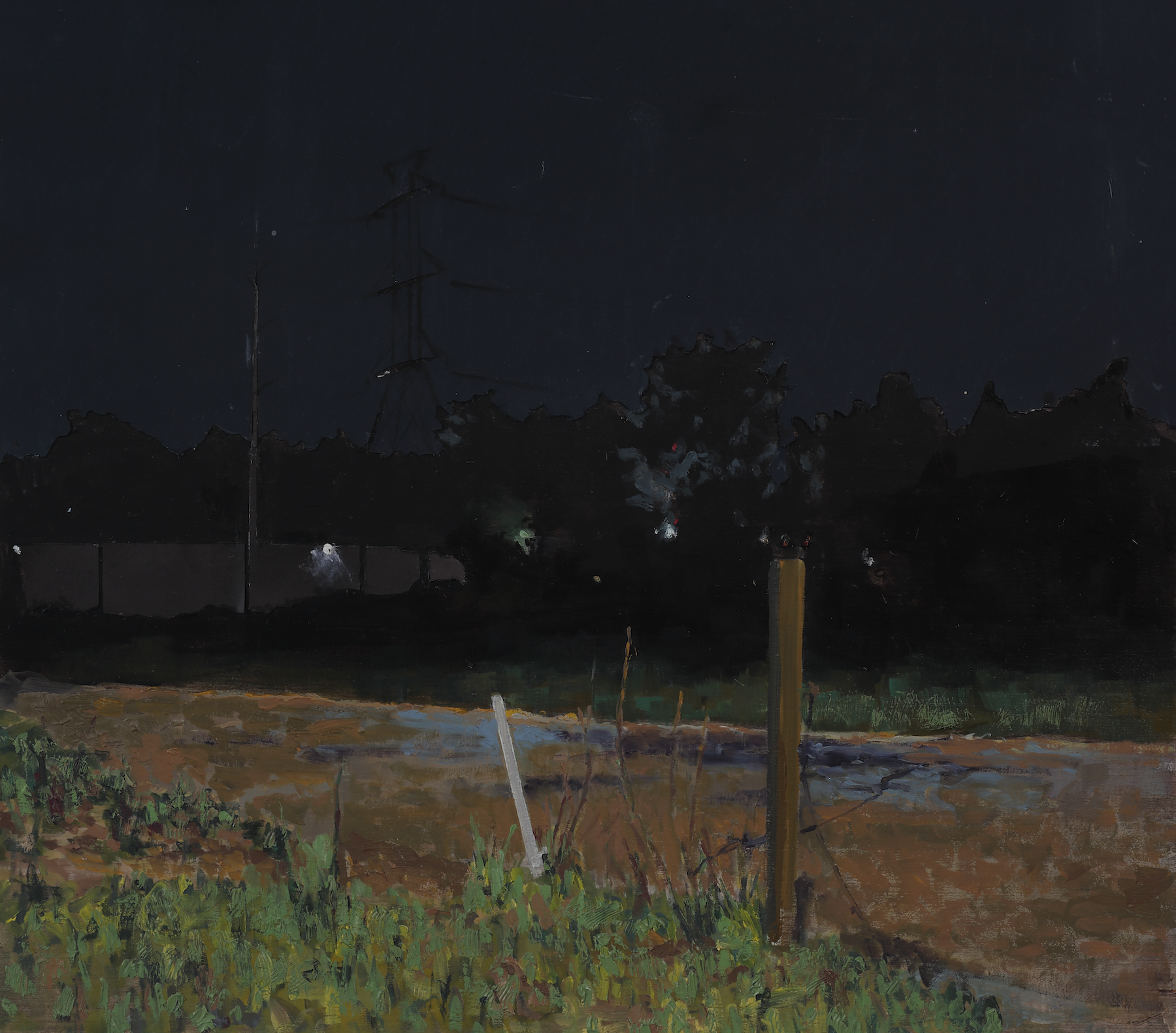 Thomas Van Auken , Nighttime Landscape , 2016              Oil, ink, acrylic and cutout colored paper on panel Photo by David Hunter Hale