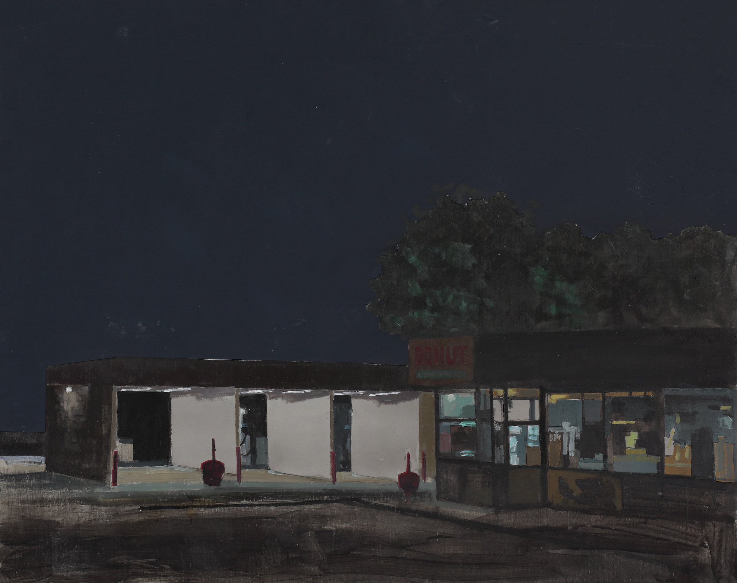 Thomas Van Auken , Carwash , 2016               Oil, ink, acrylic and cutout colored paper on panel Image courtesy of the artist