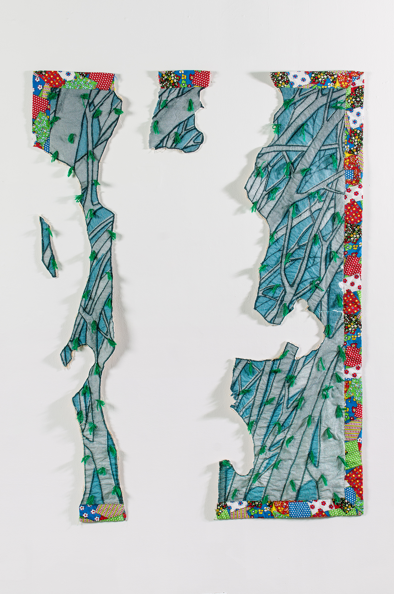 Aaron McIntosh,  Forest Frolic , 2013  Vintage cotton fabric, digital textile print, batting, thread, acrylic yarn ties  Image courtesy of the artist