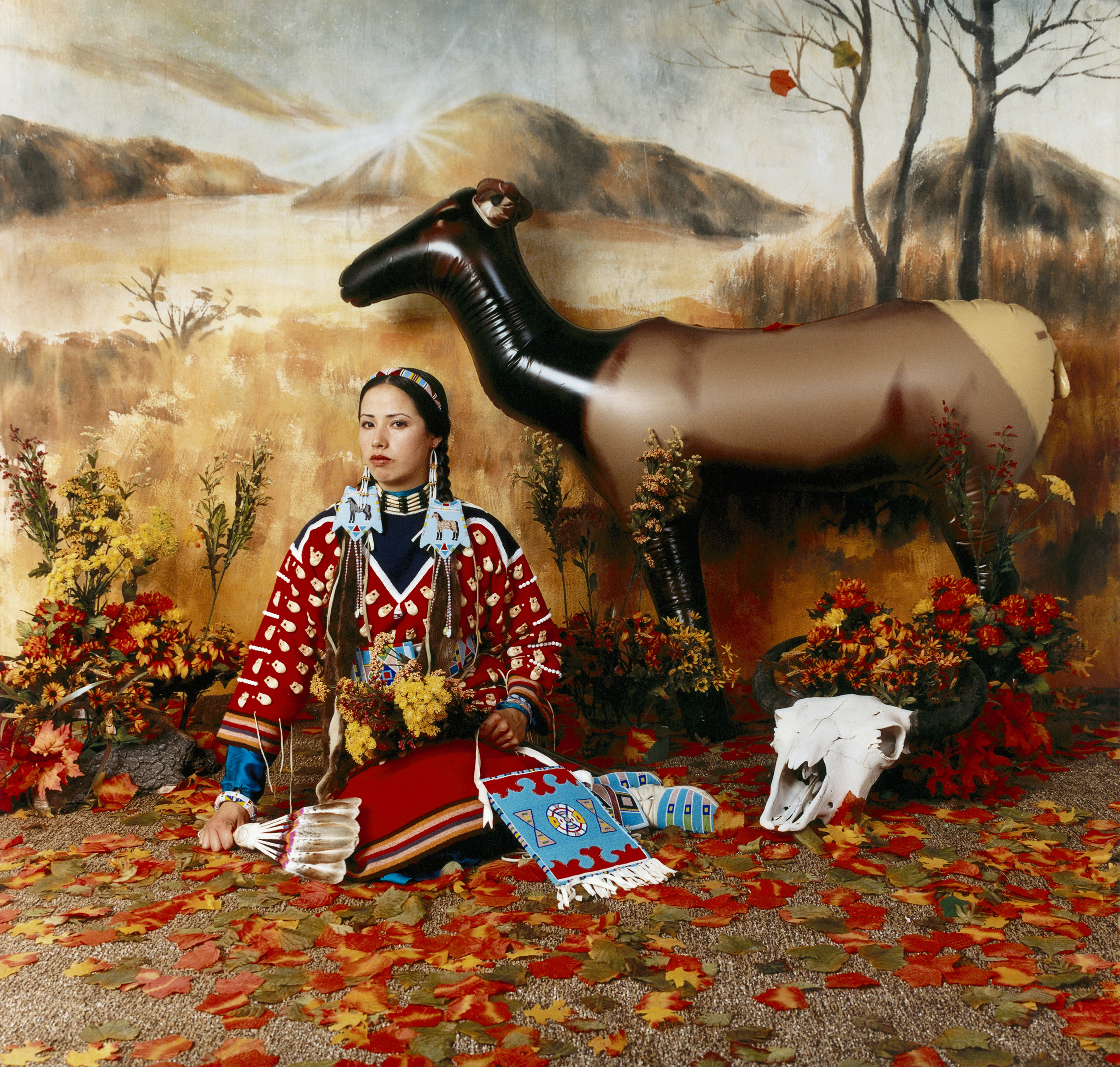 Wendy Red Star  (Crow, born 1981) ,   Four Seasons (Fall) , 2006, printed 2016  archival pigment print on Sunset fiber rag mounted on Maxx Metal  Virginia Museum of Fine Arts; Aldine S. Hartman Endowment Fund