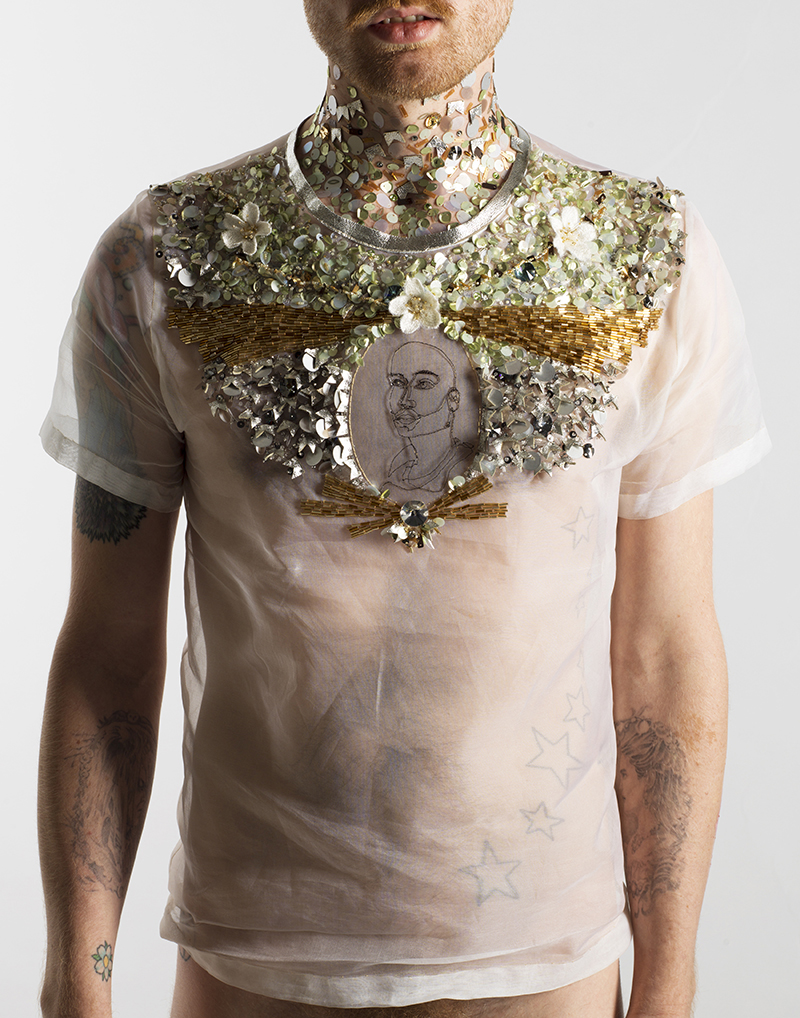 Michael-Birch Pierce,  Control , (2012)  Hand and machine embroidery on silk organza and vinyl. Dimensions variable.  Image courtesy of the artist.