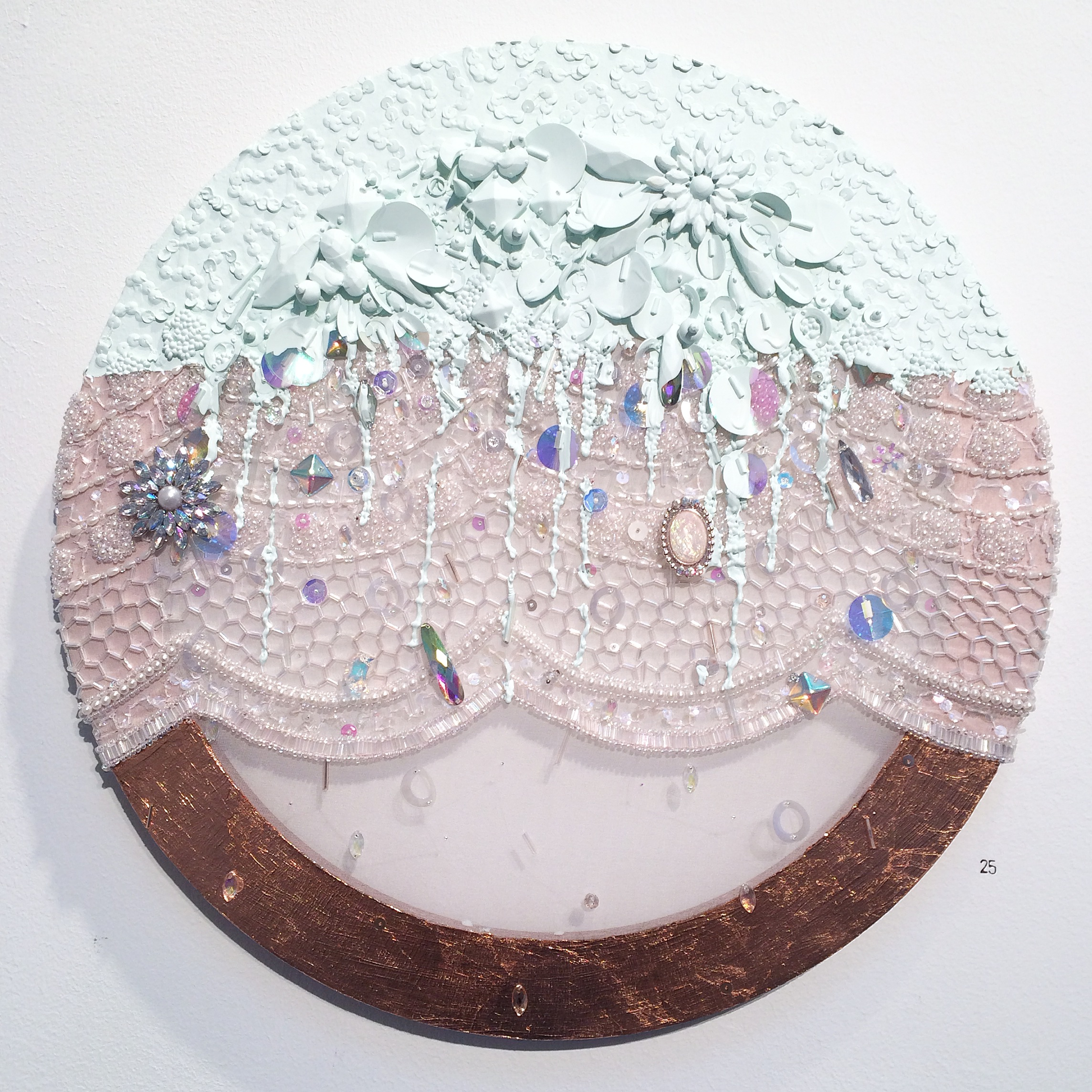 """Michael-Birch Pierce,  Florid Consumption,  2014.  Hand embellishment on silk chiffon with metal leaf and house paint. 16""""x16"""".  Image courtesy of the artist."""