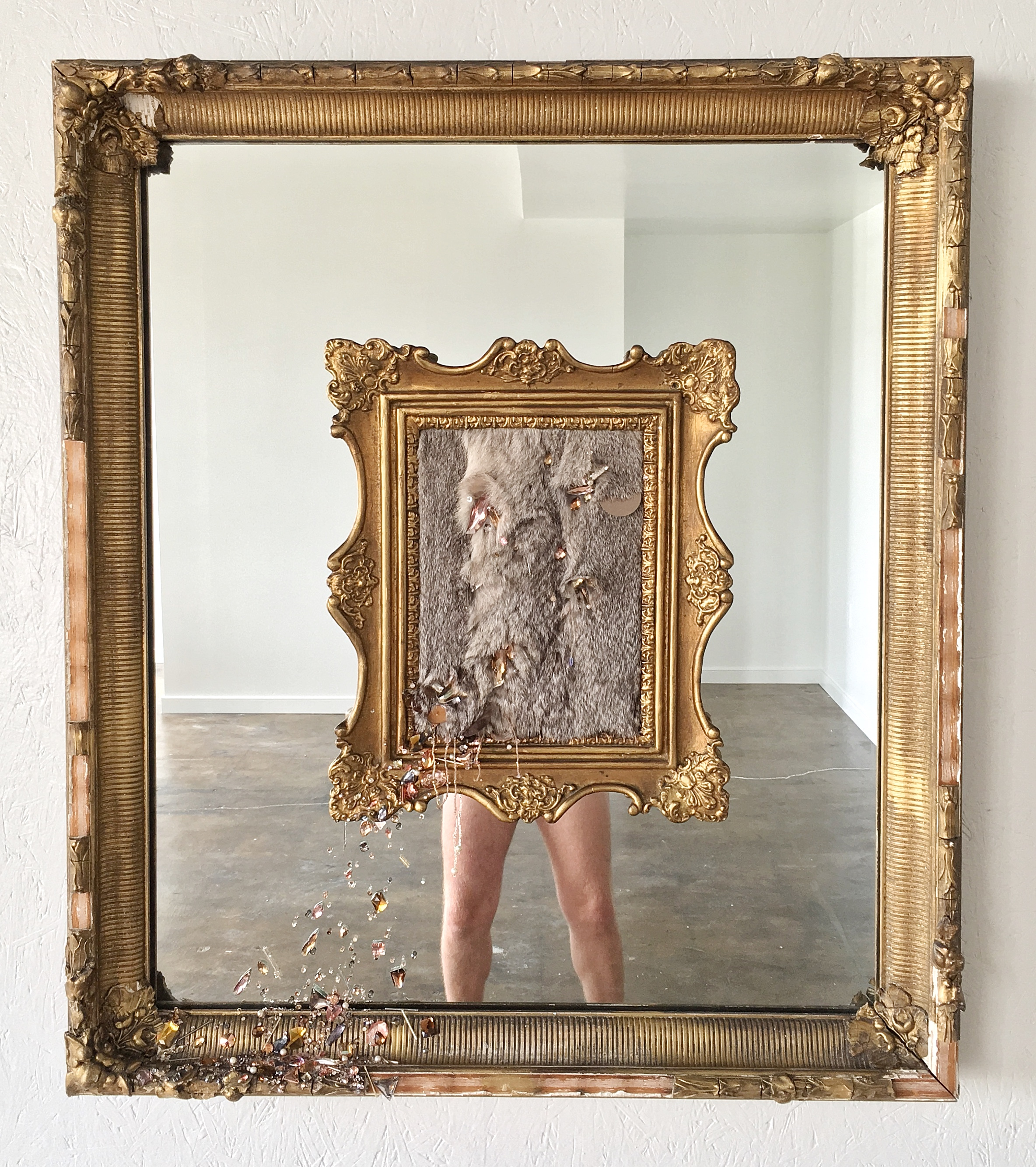 """Michael-Birch Pierce,  Where Do I Stop and You Begin?,  2017.  Hand embellishment on rabbit fur with antique frames and mirror. 34""""x39"""".  Image courtesy of the artist."""