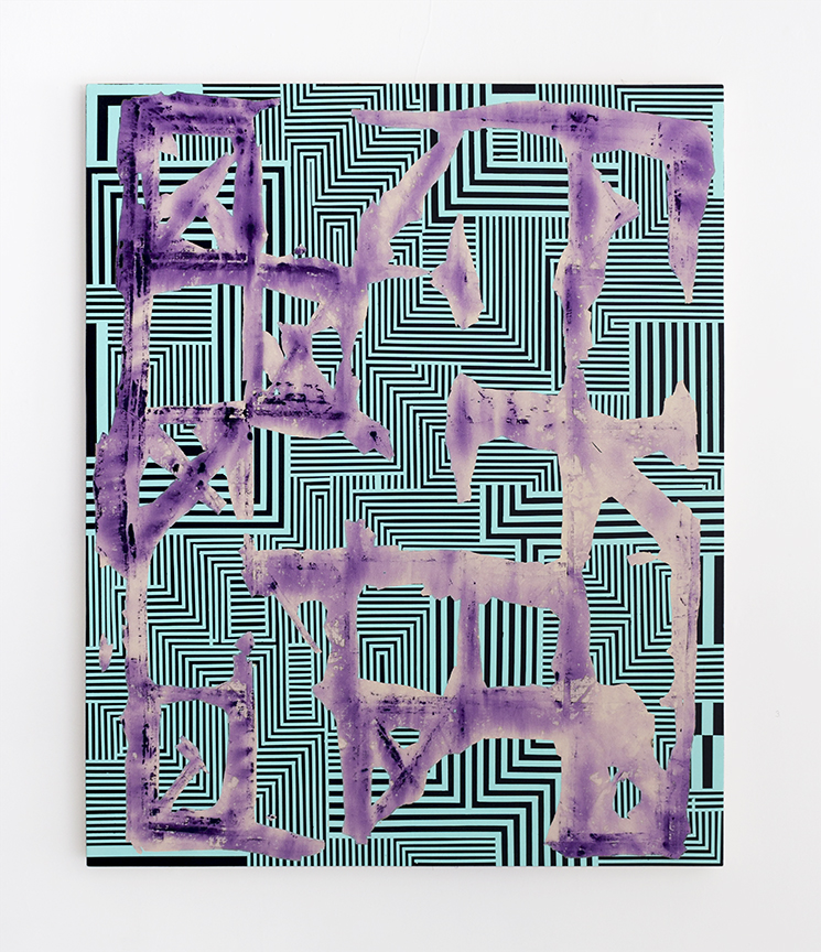 Bruce Wilhelm,   Stretcher Shroud with Network (2017)   acrylic on canvas; 66h x 54w x 2d  image courtesy of ADA Gallery