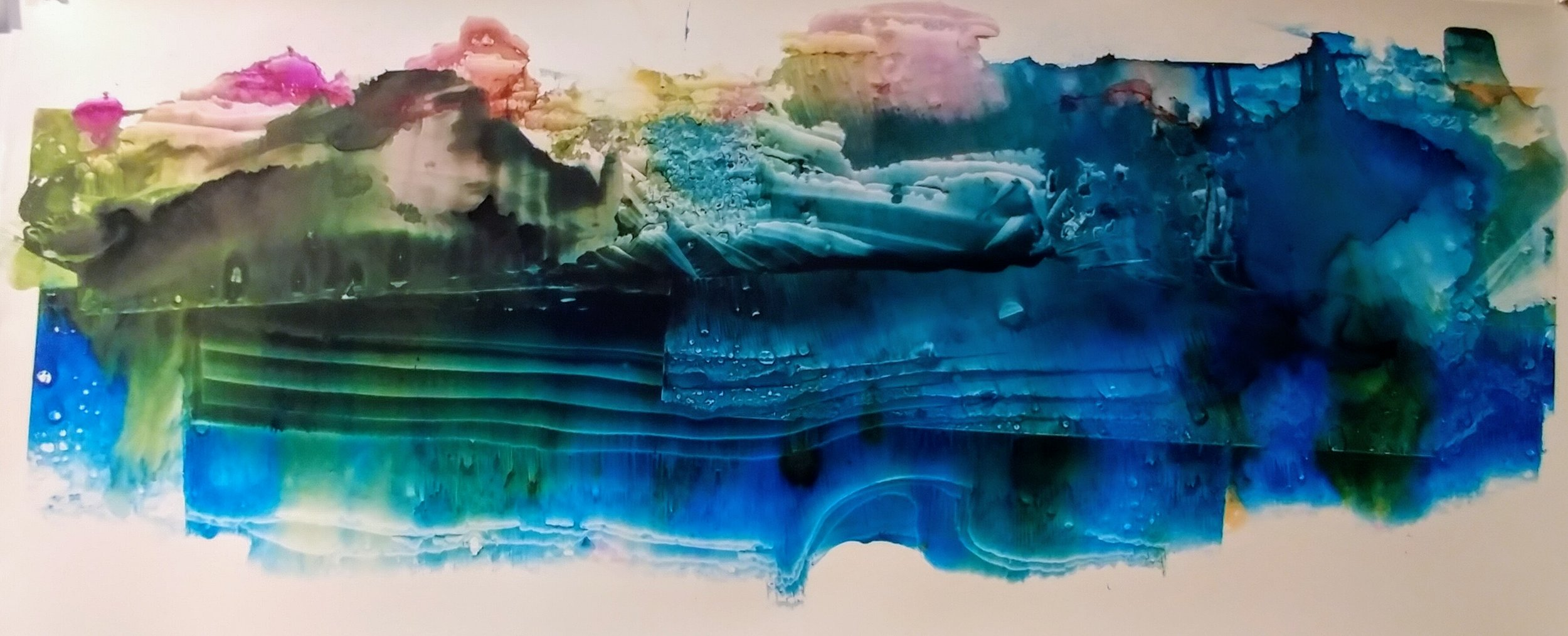 """Amie Oliver  ,Arcadia Lost Series: Summer , 2018  ink wash on polypropylene paper,23"""" x 58""""  Image courtesy of the artist and Reynolds Gallery"""