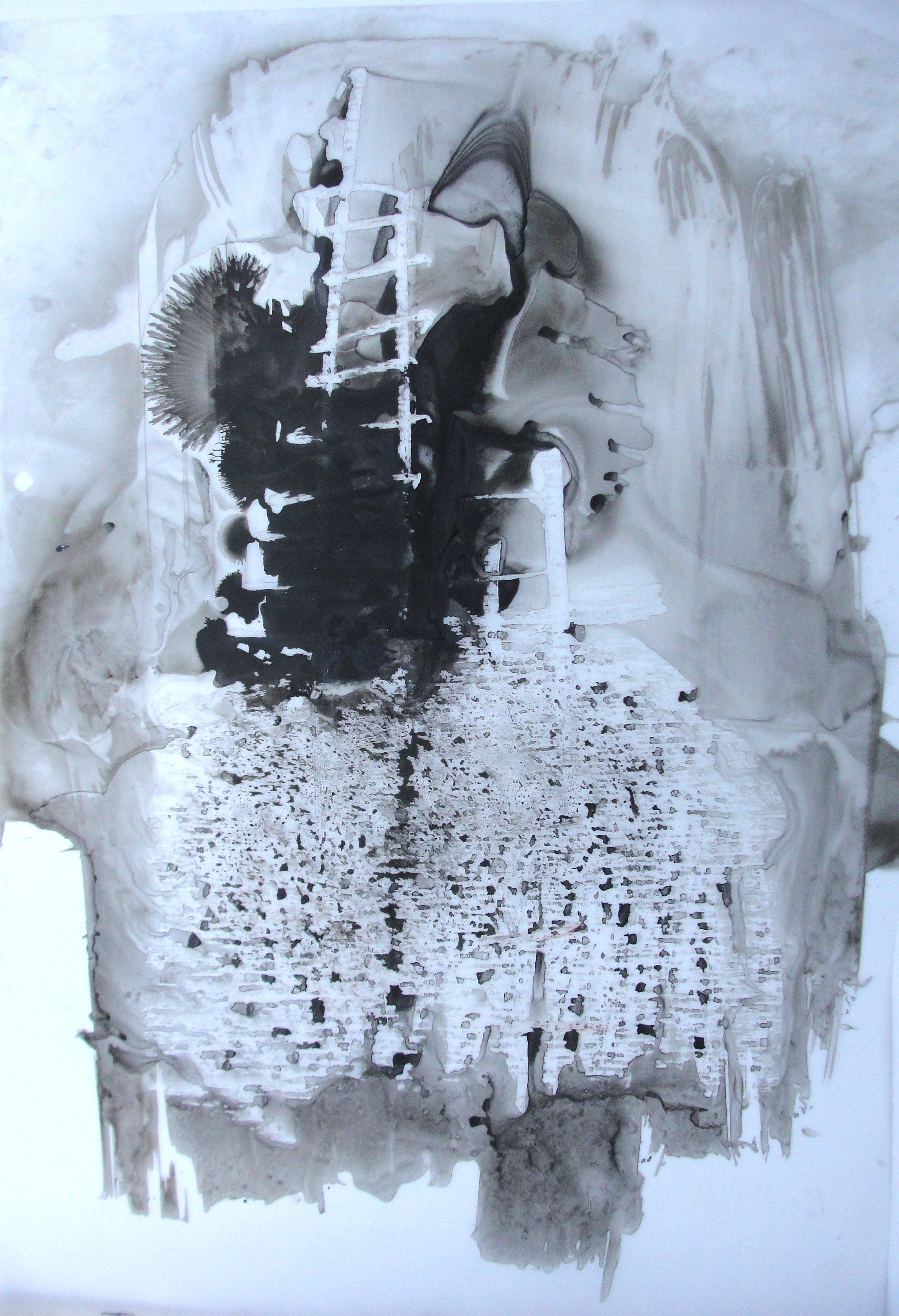 """Amie Oliver  , Heaven, Earth and Sea Series: Ascension ll , 2013  ink wash and wax on polypropylene vellum,30"""" x 24""""  image courtesy of the artist, collection of Pamela K. and William A. Royall Jr."""