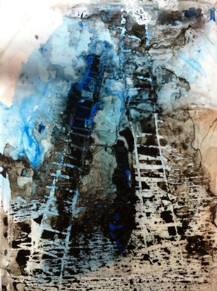 """Amie Oliver ,  Heaven, Earth and Sea Series: Ascension , 2013  ink wash and wax on paper, 14"""" x 10""""  image courtesy of the artist, private collection"""