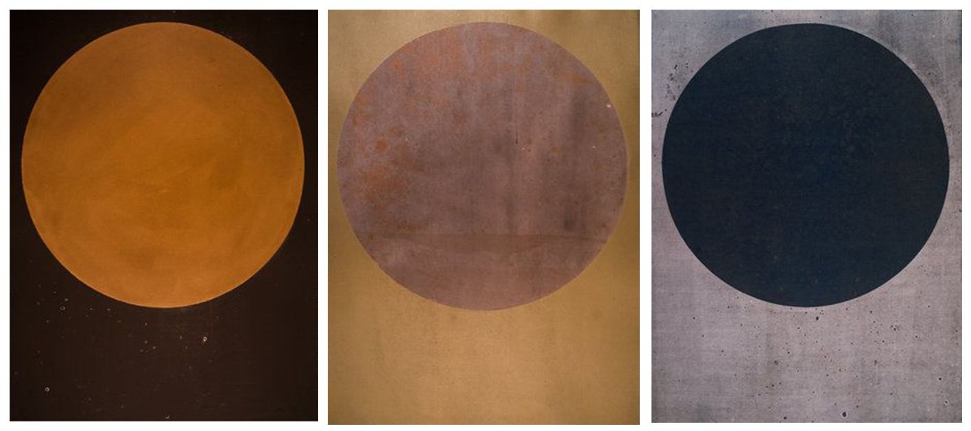 Harrison Walker,   (L to R) Portal No. 107, 070, 062   Mixed Media Prints, 30 x 22 inches  Image courtesy of Candela Books and Gallery