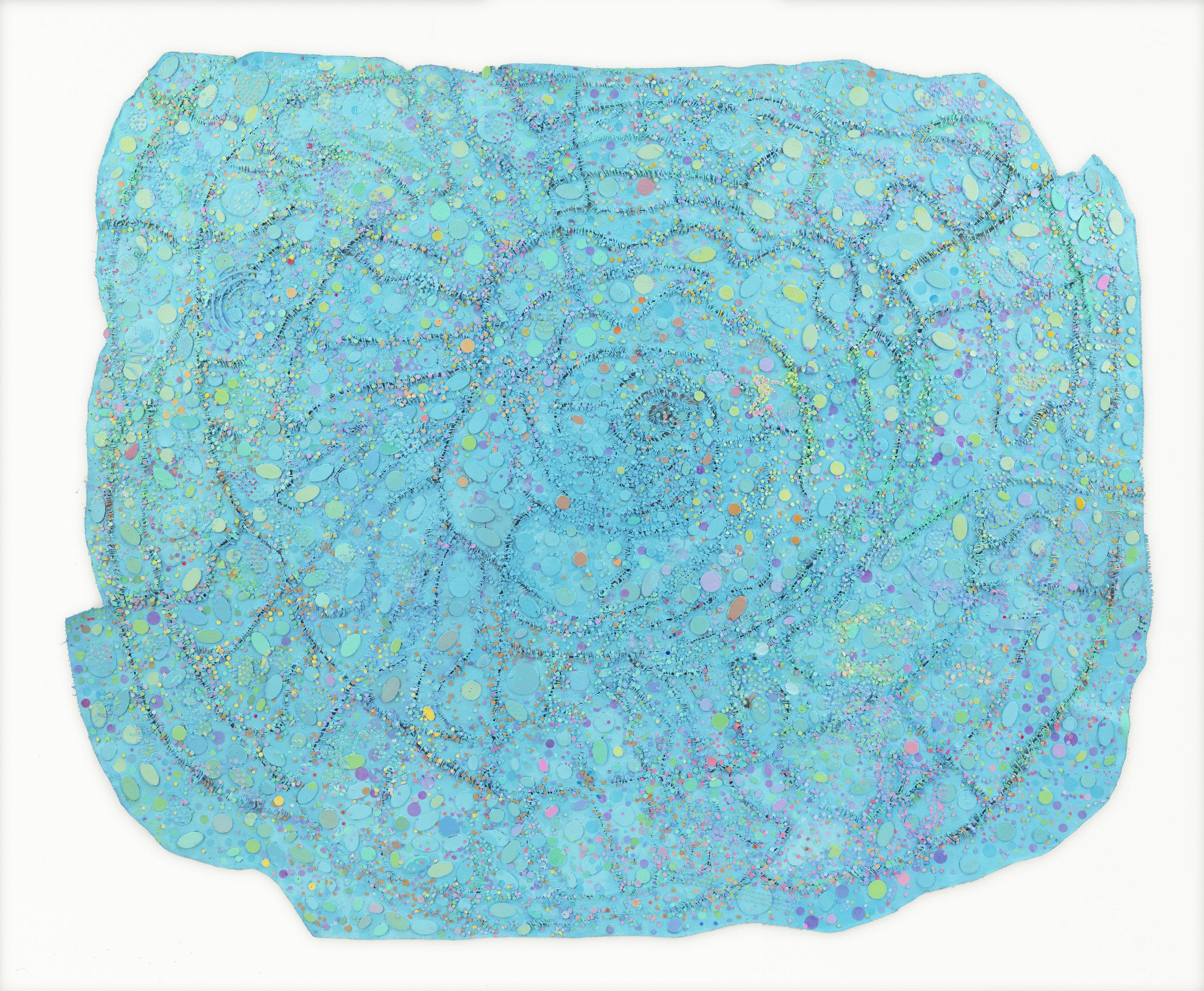 Howardena Pindell ,  Night Flight , 2015–2016.  Mixed media on canvas.  Image courtesy of the artist and Garth Greenan Gallery, New York.