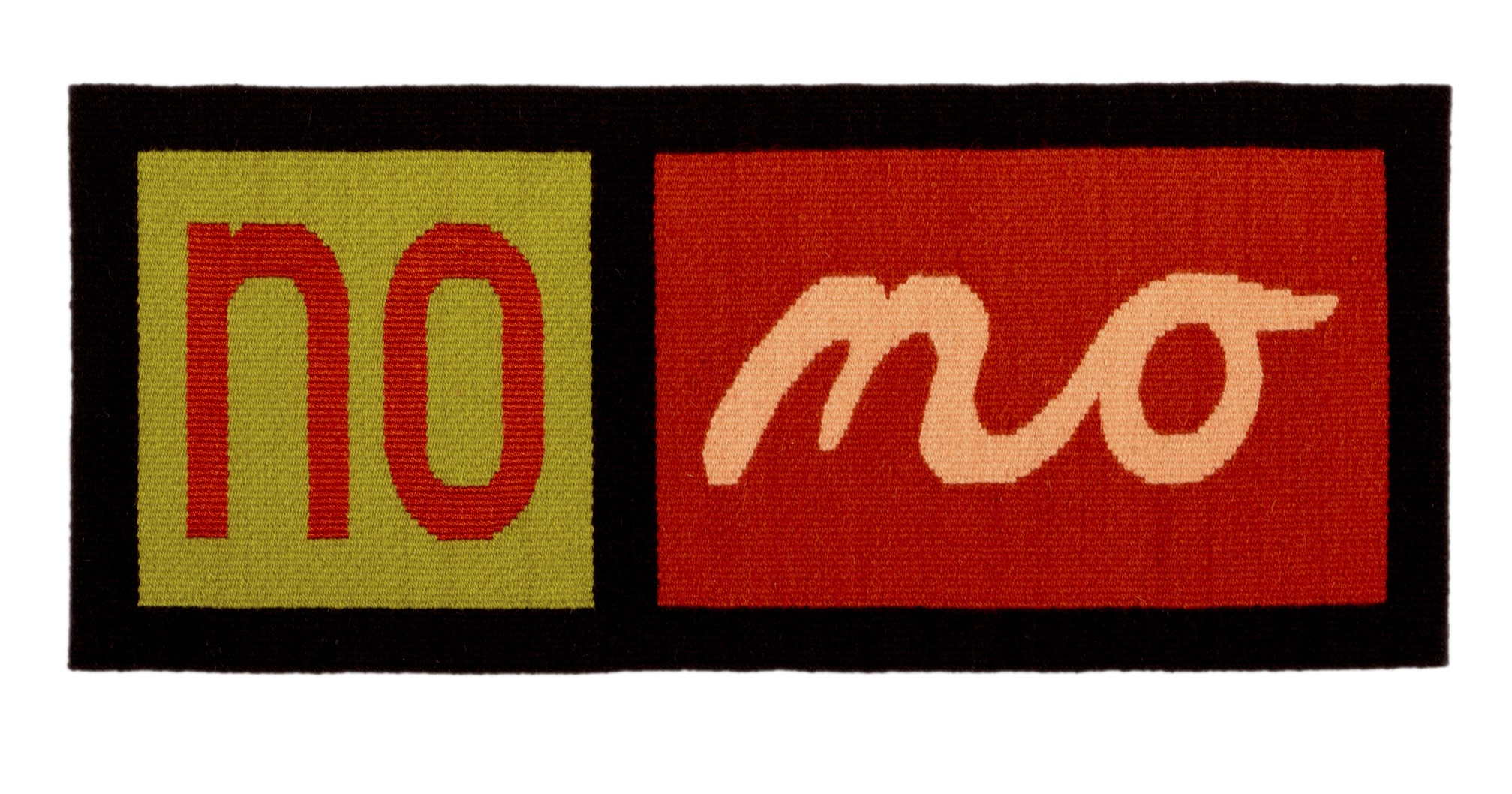 "Susan Iverson,  Orange on Green and Peach on Orange on Brown , 2017  wool and silk on linen warp  14"" x 33.25"""