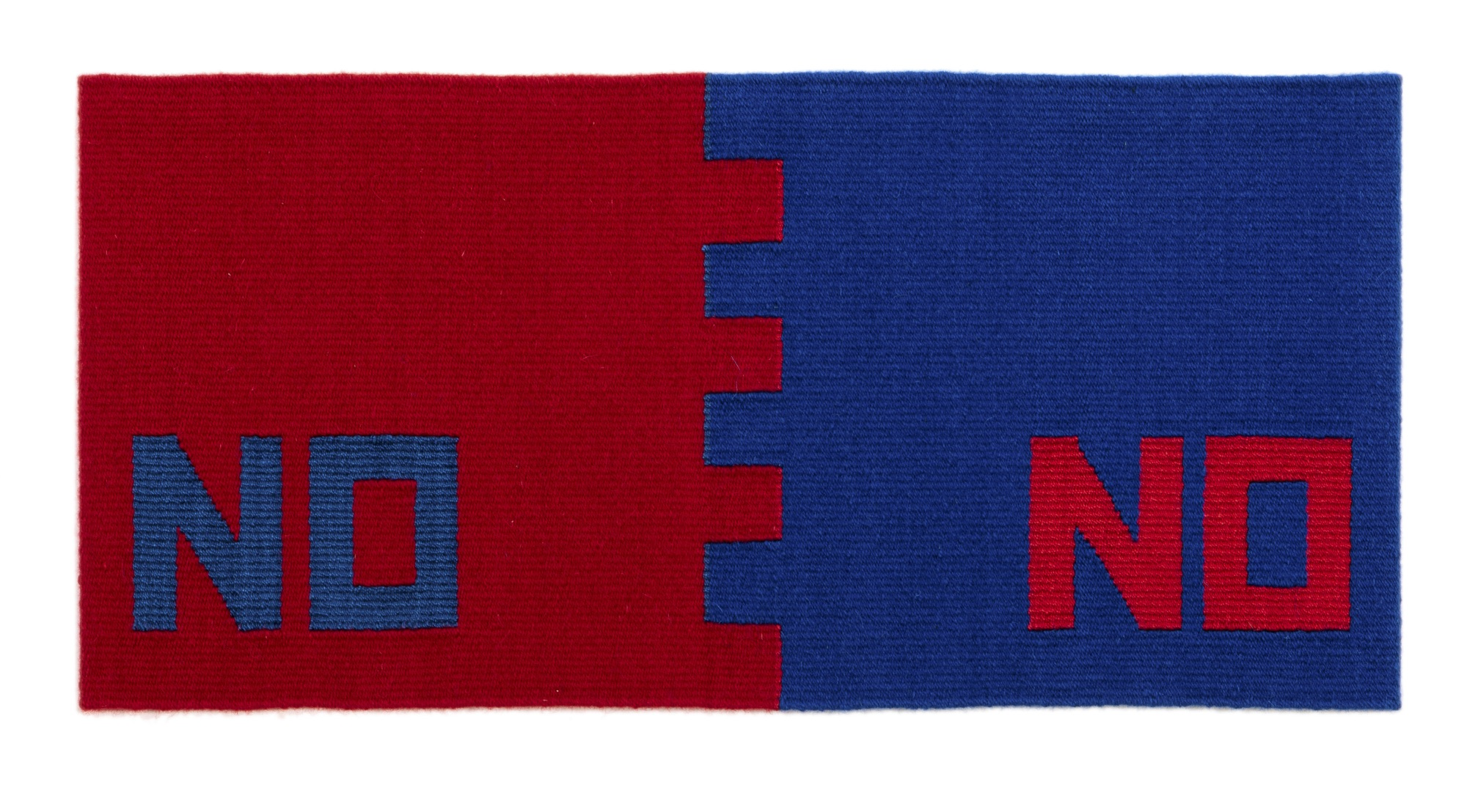 """Susan Iverson,  Blue on Red and Red on Blue , 2017  wool and silk on linen warp  14"""" x 29.5"""""""