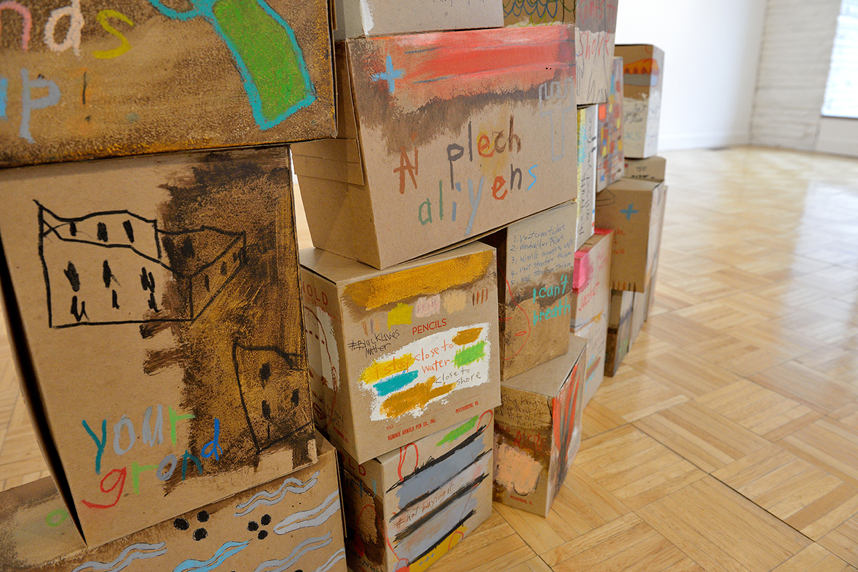 "Aimee Joyaux ,  The Box Project , installation view, 2016  Shellac, oil stick, oil pastel, colored pencil, ball point pen, craft paper boxes, 11.5"" x 8"" x 5""  Image courtesy of the artist"