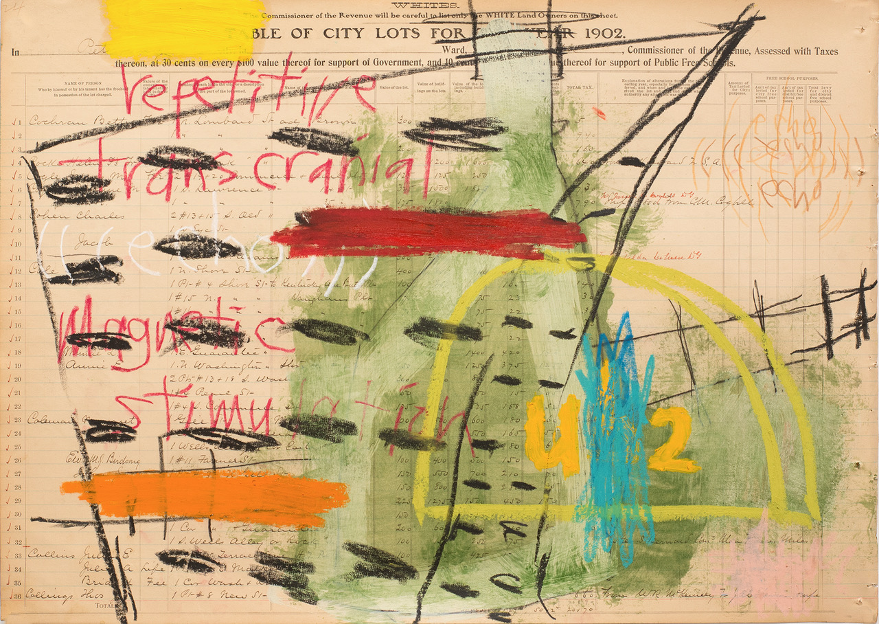 "Aimee Joyaux,   City Lots: Echo, You Be Too,  2016/2017  Oil stick, oil pastel, colored pencil, ledger paper, (original property records from the city of Petersburg from 1902 - 03), 18"" x 24""  Image courtesy of the artist"
