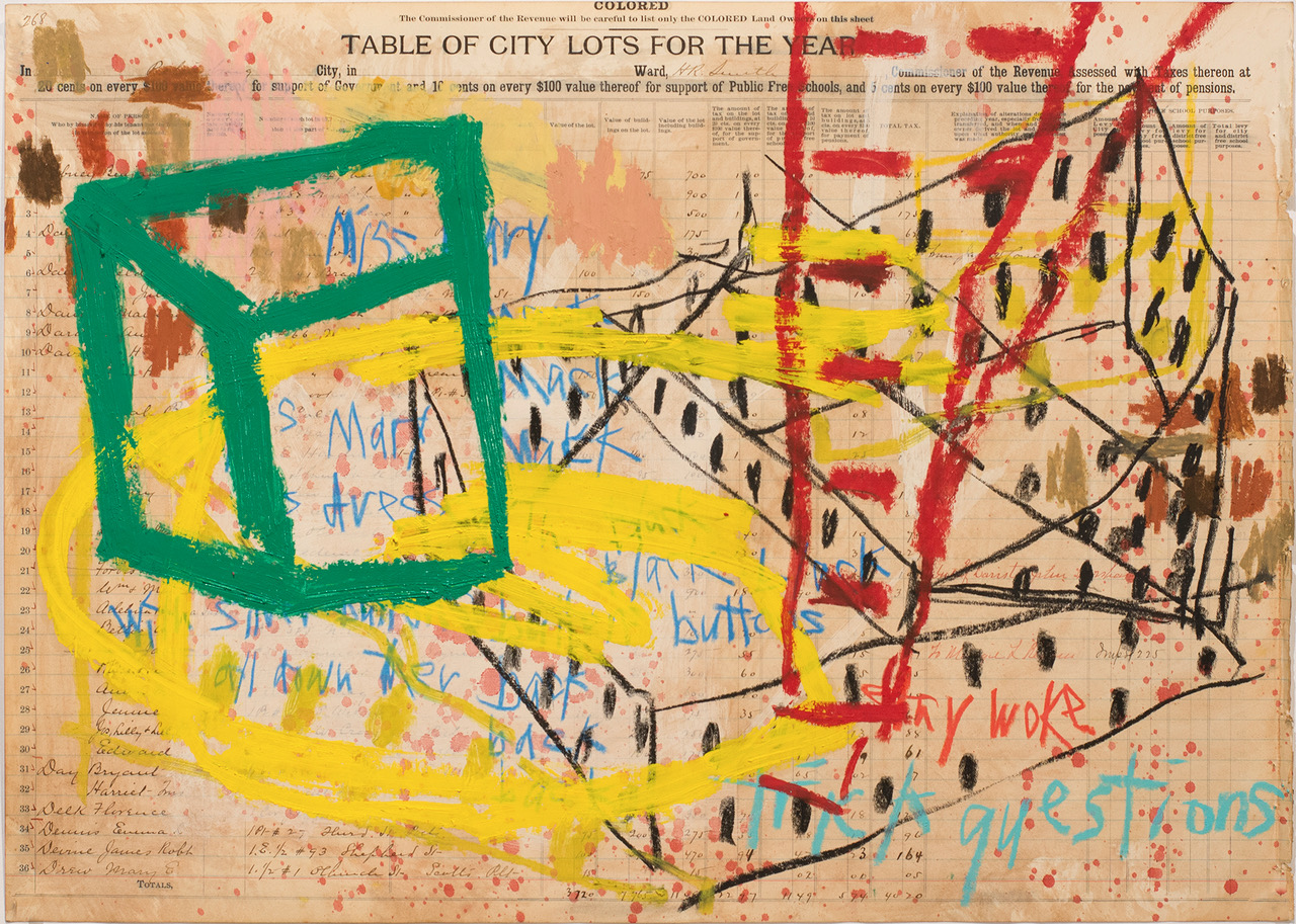 "Aimee Joyaux,   City Lots: Miss Mary Mack,  2016/2017  Oil stick, oil pastel, colored pencil, ledger paper, (original property records from the city of Petersburg from 1902 - 03), 18"" x 24""  Image courtesy of the artist"