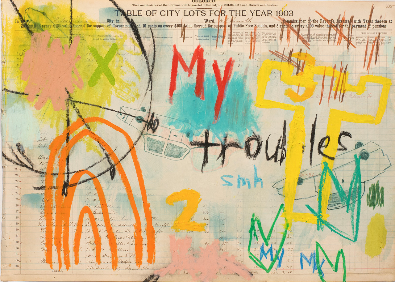 "Aimee Joyaux,   City Lots: My Troubles Are Comin' ,  2016/2017  Oil stick, oil pastel, colored pencil, ledger paper, (original property records from the city of Petersburg from 1902 - 03), 18"" x 24""  Image courtesy of the artist"