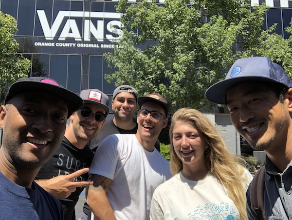 Steve Larosiliere, STOKED Founder along with STOKED LA Staff setting up for the Vans Company Sample Sale benefiting STOKED.