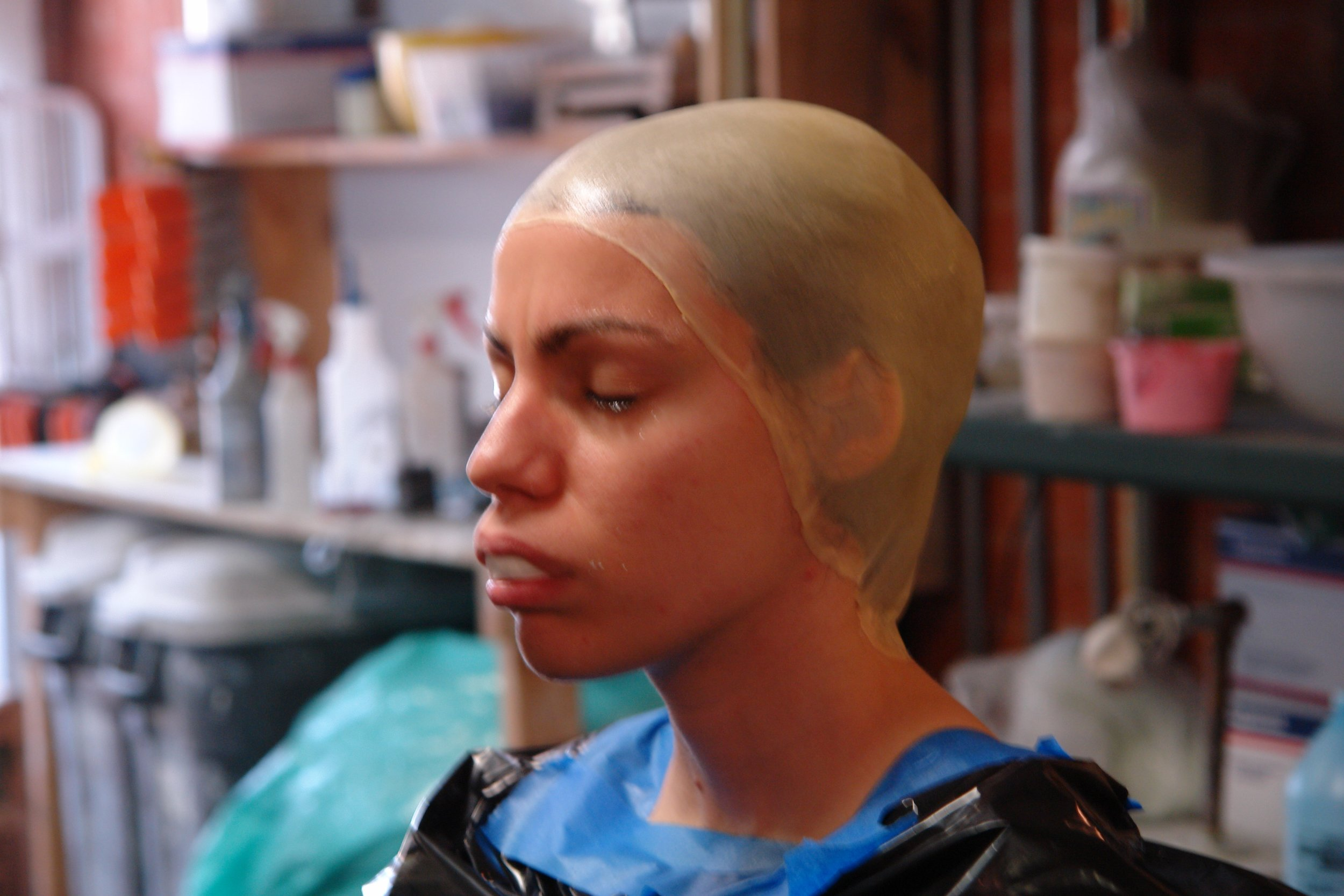 Actor Margarita Maliagros ready to be life cast at Barney Burman's B2FX shop as part of her special character make-up as Pinhead M in Lascaux Entertainment's 2011 production of  The Elephant Man , directed by John Drouillard.  Photo by Natalie Drouillard.