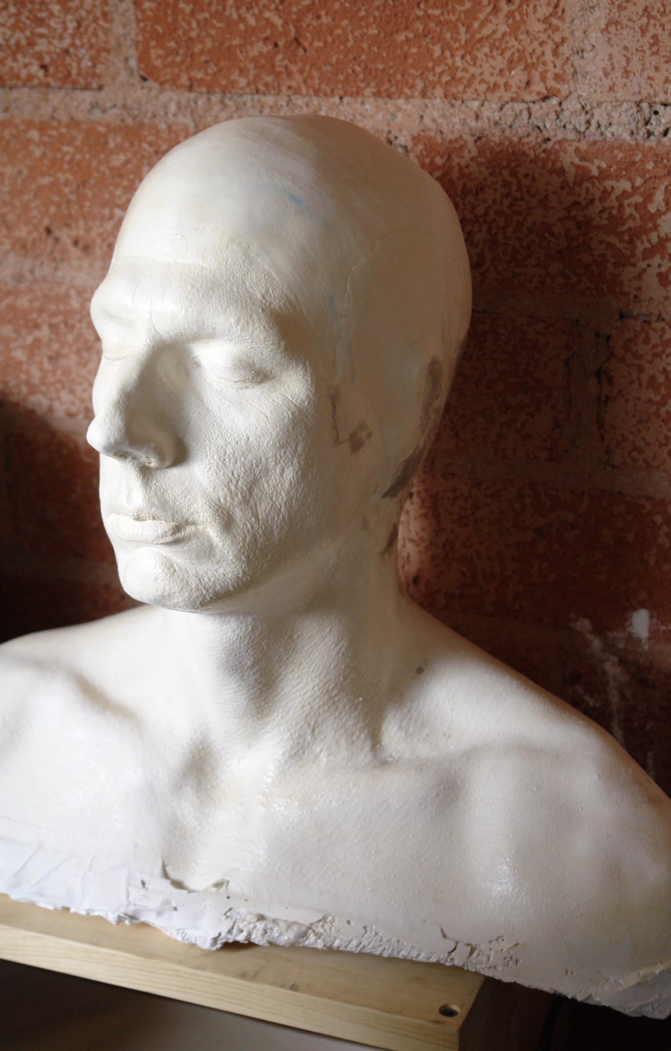 A plaster life cast of actor Nick Cimiluca at Barney Burman's B2FX shop, taken as part of his special character make-up as The Giant in Lascaux Entertainment's 2011 production of  The Elephant Man , directed by John Drouillard.  Photo by Natalie Drouillard.