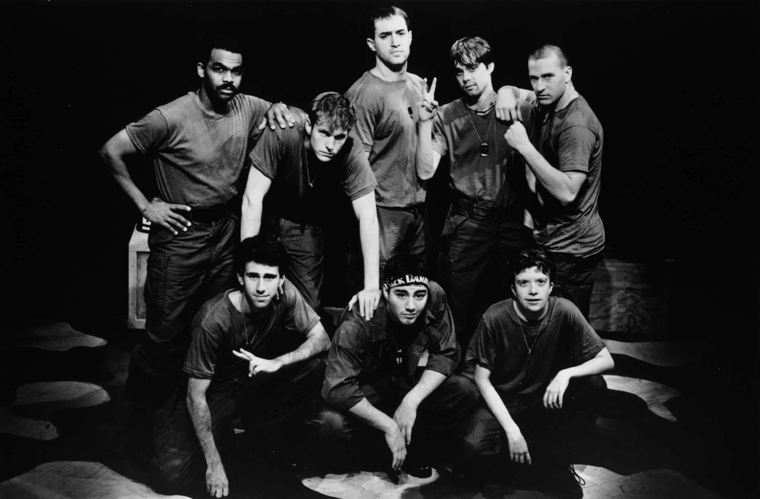 Gene Fereaud (Habu), Craig Bilsky (Professor), William Vogt (Dinky Dau), Scott Donnelly (Little John), Chris Solari (Scooter), Andy Hungerford (Doc), Scott Freeburg (Baby San), and Peter Winfield (Sgt. Williams) in Draw the Sneck Productions'1996 | 1997 productions of  Tracers , directed by John Drouillard.  Photo by Christine Krench.  Photo by Christine Krench.