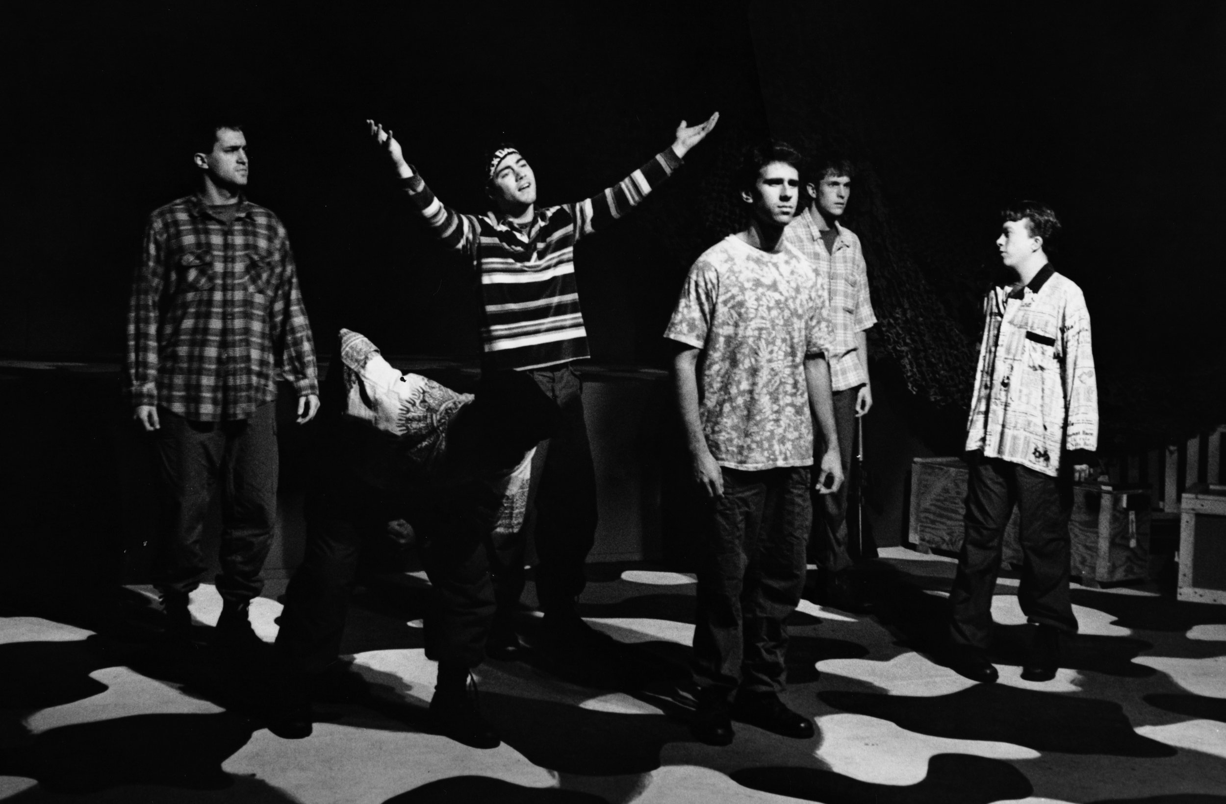 Scott Donnelly (Little John), Gene Fereaud (Habu), Chris Solari (Scooter), Craig Bilsky (Professor), William Vogt (Dinky Dau), and Scott Freeburg (Baby San) in Draw the Sneck Productions'1996 | 1997 productions of  Tracers , directed by John Drouillard.  Photo by Christine Krench.