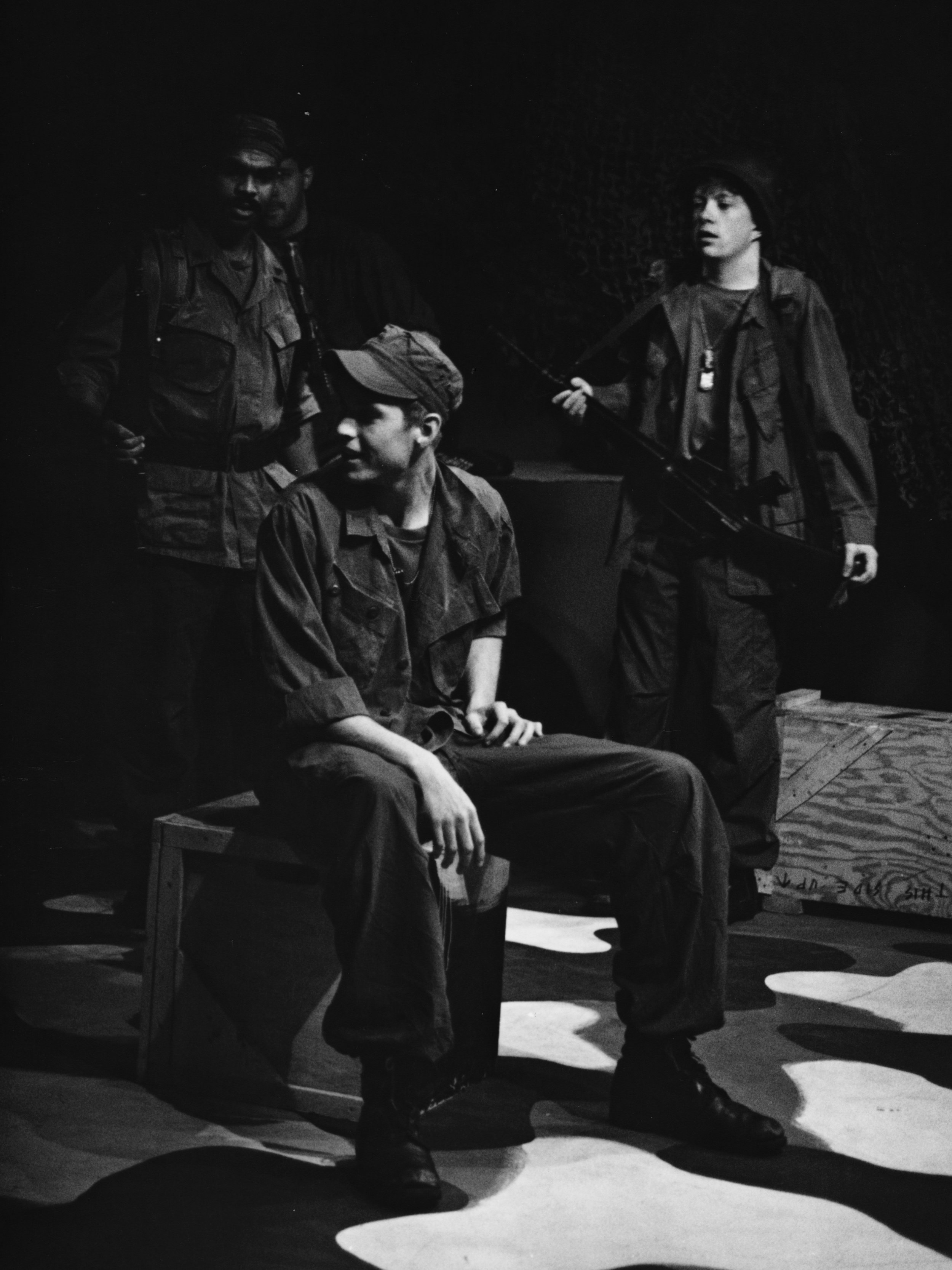 Gene Fereaud (Habu), Scott Donnelly (Little John), William Vogt (Dinky Dau), and Scott Freeburg (Baby San) in Draw the Sneck Productions'1996 | 1997 productions of  Tracers , directed by John Drouillard.  Photo by Christine Krench.