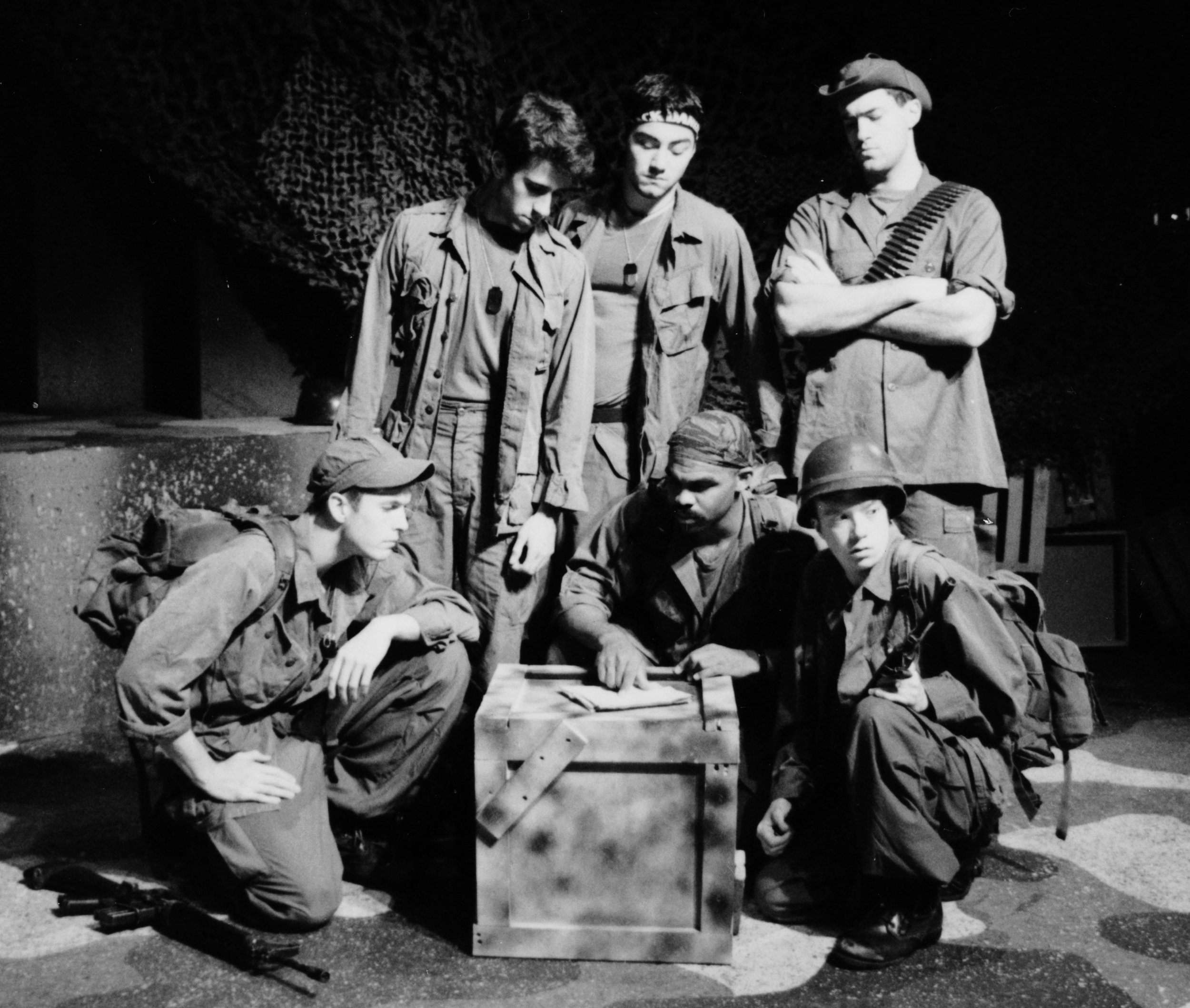 William Vogt (Dinky Dau), Craig Bilsky (Professor), Craig Bilsky (Professor), Gene Fereaud (Habu), Scott Freeburg (Baby San), and Scott Donnelly (Little John) in Draw the Sneck Productions'1996 | 1997 productions of  Tracers , directed by John Drouillard.  Photo by Paul Backer.