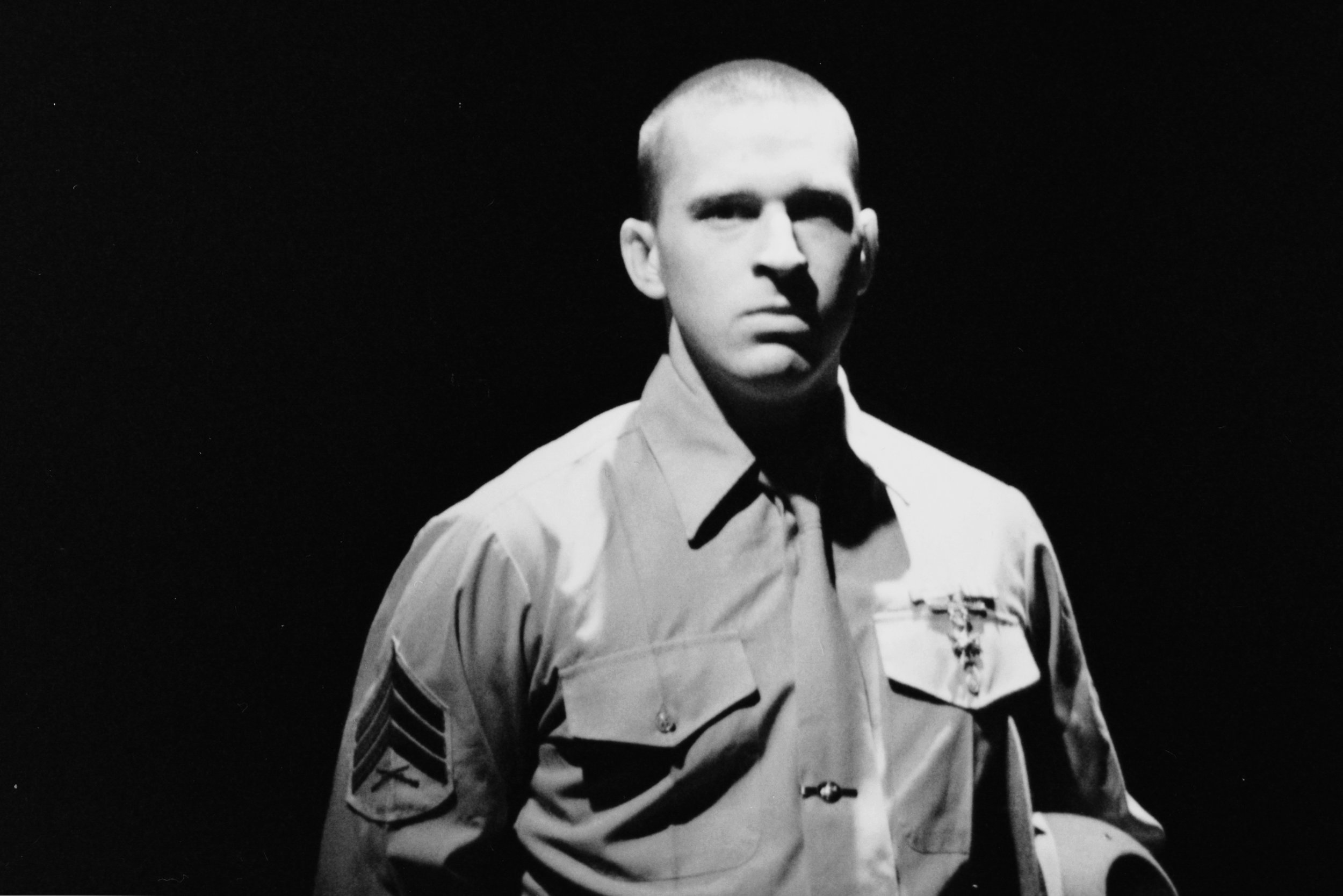 Peter Winfield (Sgt. Williams) in Draw the Sneck Productions'1996 | 1997 productions of  Tracers , directed by John Drouillard.  Photo by Paul Backer.