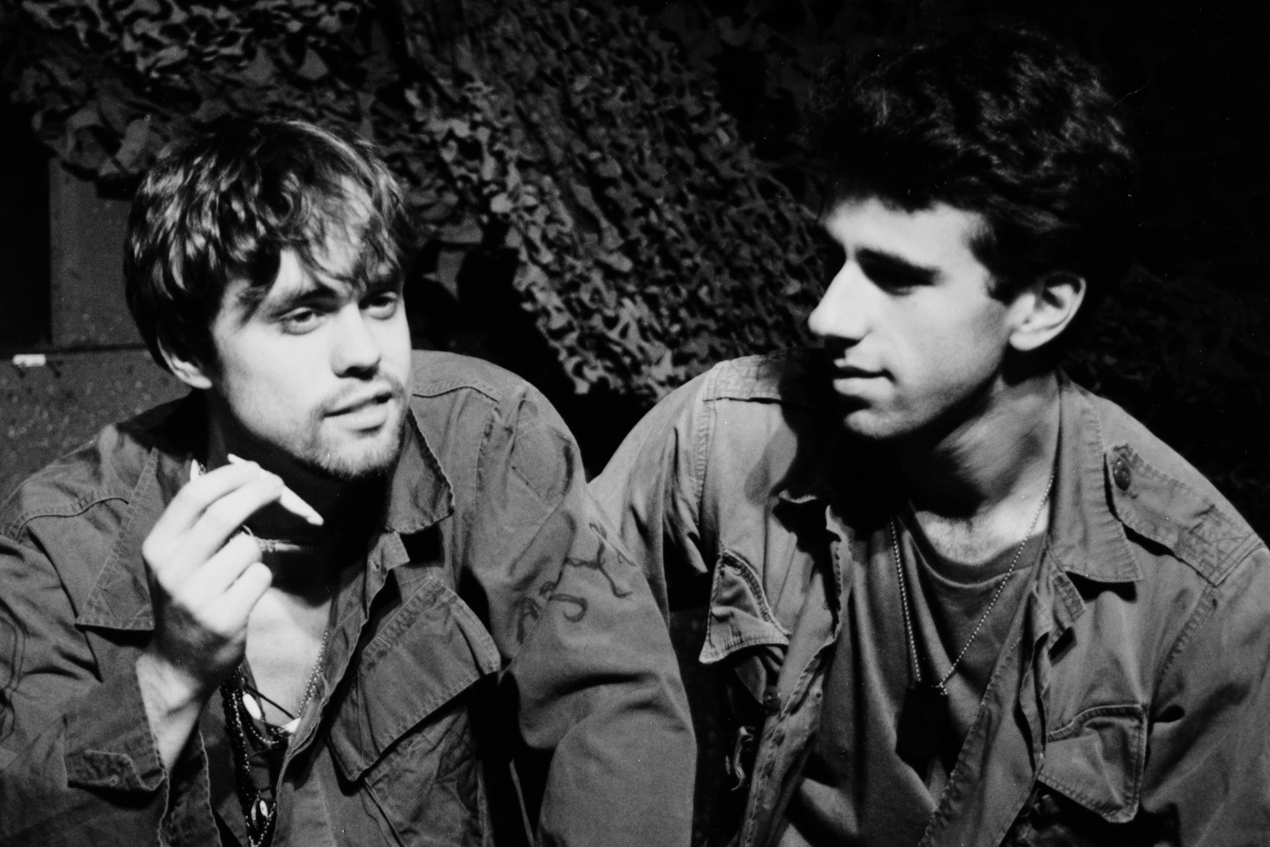 Andy Hungerford (Doc) and Craig Bilsky (Professor) in Draw the Sneck Productions'1996 | 1997 productions of  Tracers , directed by John Drouillard.  Photo by Paul Backer.