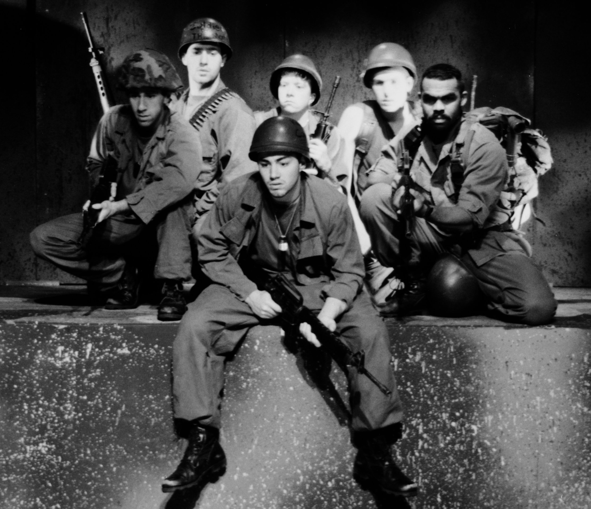 Craig Bilsky (Professor), Scott Donnelly (Little John), Chris Solari (Scooter), Scott Freeburg (Baby San), William Vogt (Dinky Dau), and Gene Fereaud in Draw the Sneck Productions'1996 | 1997 productions of  Tracers , directed by John Drouillard.  Photo by Paul Backer.