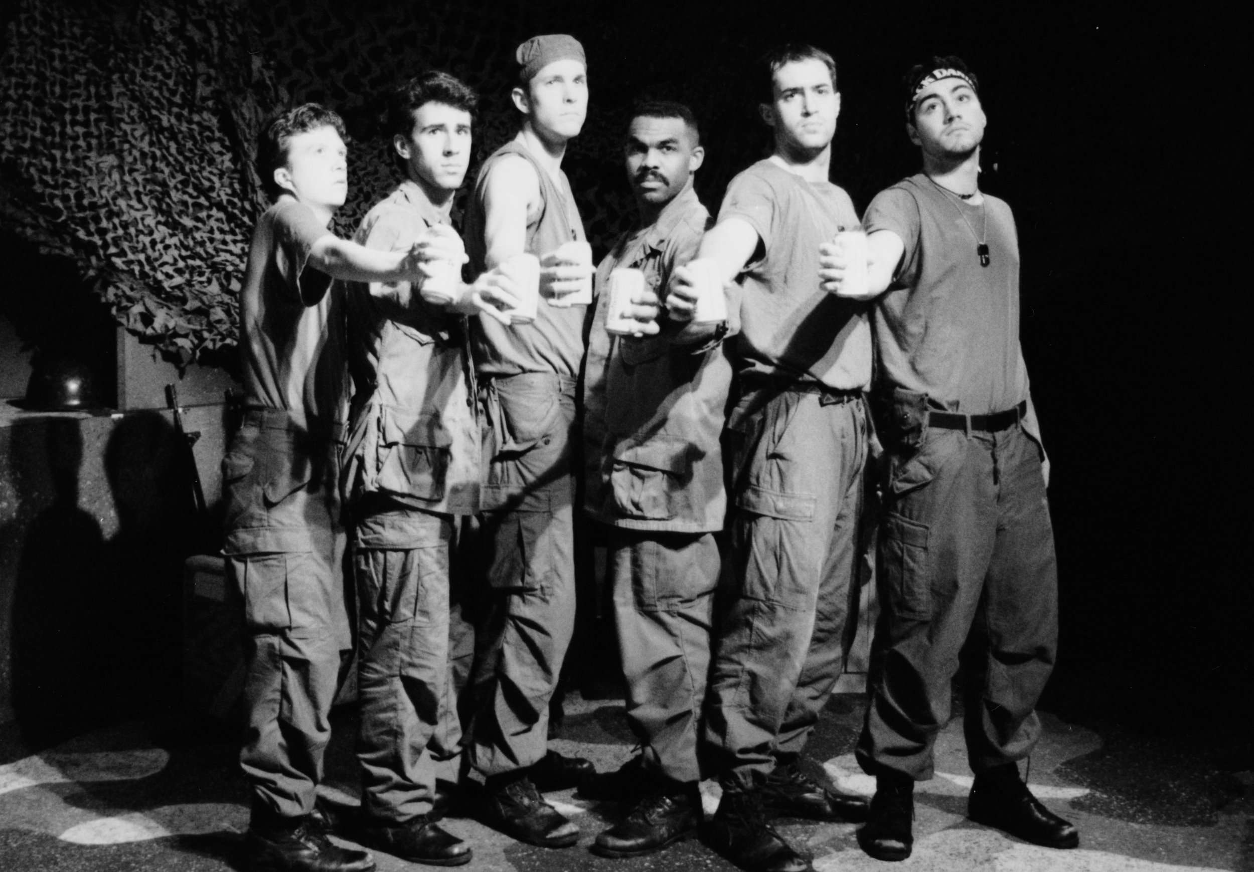 Scott Freeburg (Baby San), Craig Bilsky (Professor), William Vogt (Dinky Dau), Gene Fereaud (Habu), Scott Donnelly (Little John), and Chris Solari (Scooter) in Draw the Sneck Productions'1996 | 1997 productions of  Tracers , directed by John Drouillard.  Photo by Paul Backer.