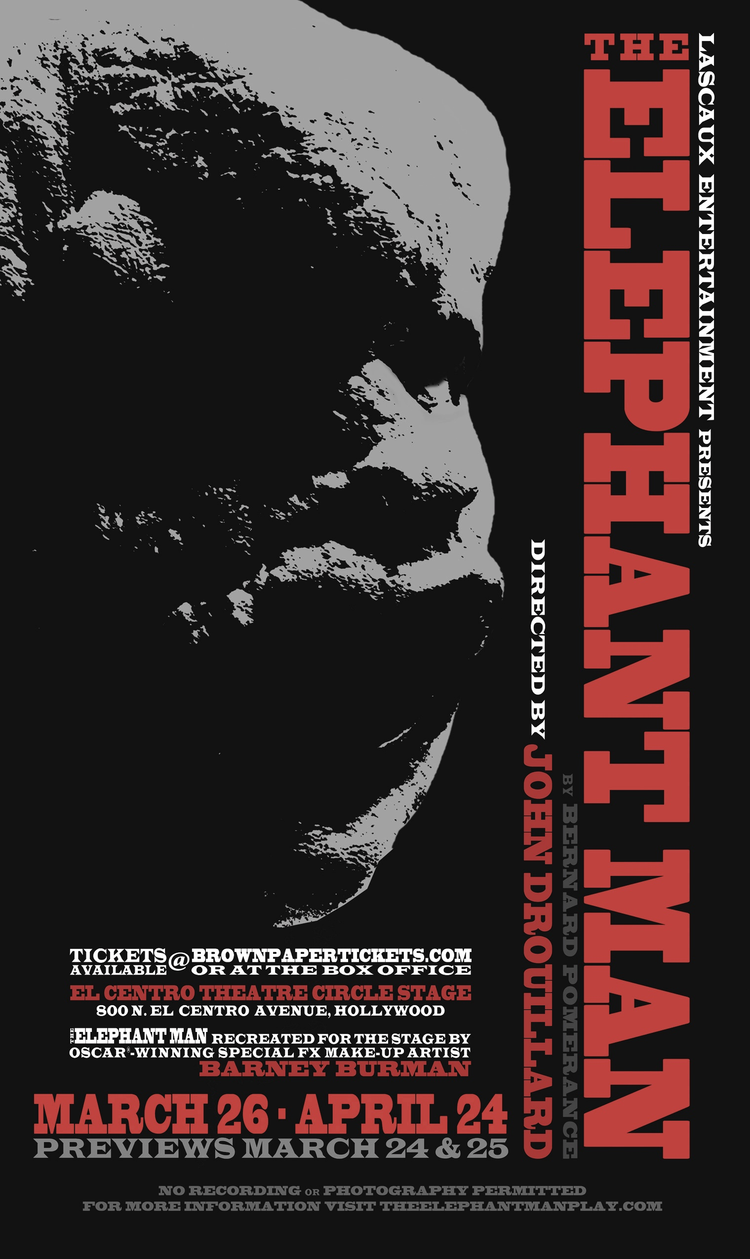 Poster for Lascaux Entertainment's 2011 production of  The Elephant Man,  design and art by Jason Medley.