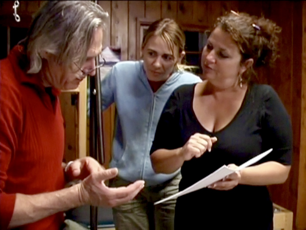 Producer and Beethoven's Nightmare drummer Bob Hiltermann with ASL performers Deanne Bray and Lisa Hermatz in rehearsals for GLAD & Sprint Relay's 2007 concert  Beethoven's Nightmare Live At The El Rey , produced by Bob Hiltermann, John Drouillard, and Natalie Drouillard.  Still from Worldplay, Inc.'s 2010 feature documentary,  See What I'm Saying , cinematography by Jeff Gatesman, directed by Hilari Scarl.