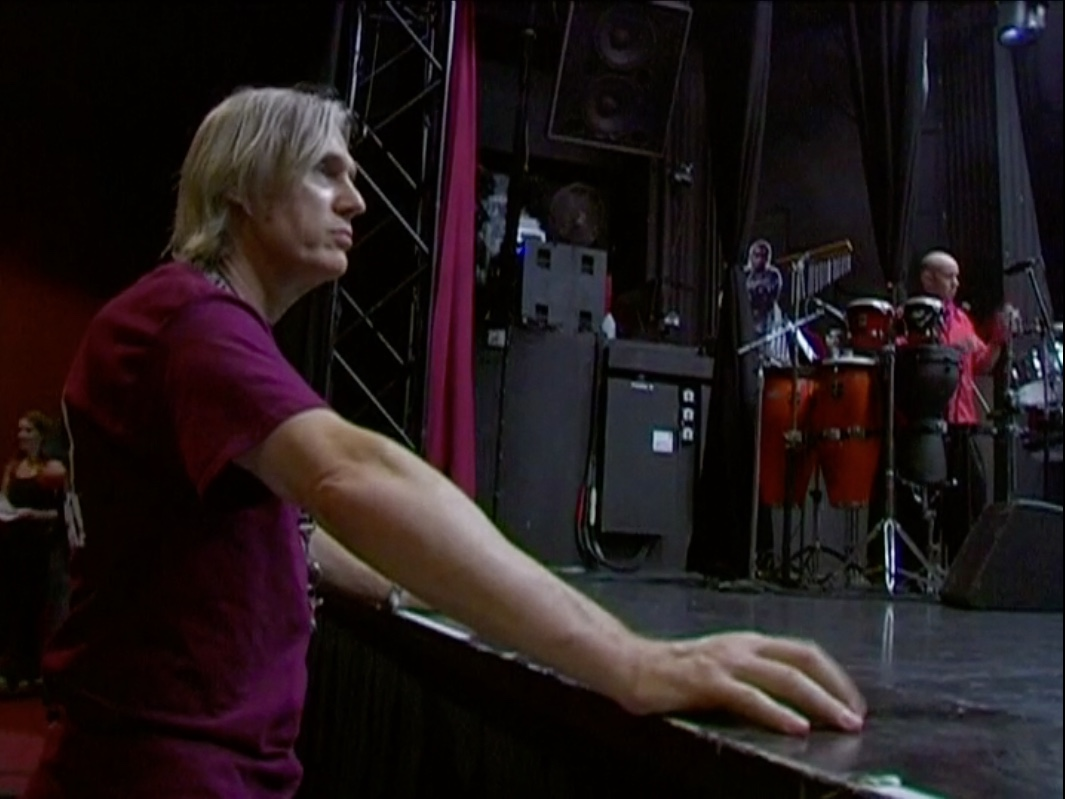 Beethoven's Nightmare drummer Bob Hiltermann and guest percussionist Durand Stuart during load-in for GLAD & Sprint Relay's 2007 concert  Beethoven's Nightmare Live At The El Rey , produced by Bob Hiltermann, John Drouillard, and Natalie Drouillard.  Still from Worldplay, Inc.'s 2010 feature documentary,  See What I'm Saying , cinematography by Jeff Gatesman, directed by Hilari Scarl.
