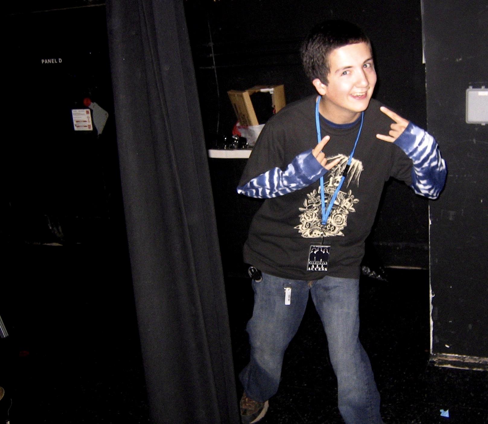 Street team volunteer Jonathan Vass backstage after GLAD & Sprint Relay's 2007 concert  Beethoven's Nightmare Live At The El Rey , produced by Bob Hiltermann, John Drouillard, and Natalie Drouillard.  Photo by Natalie Drouillard.