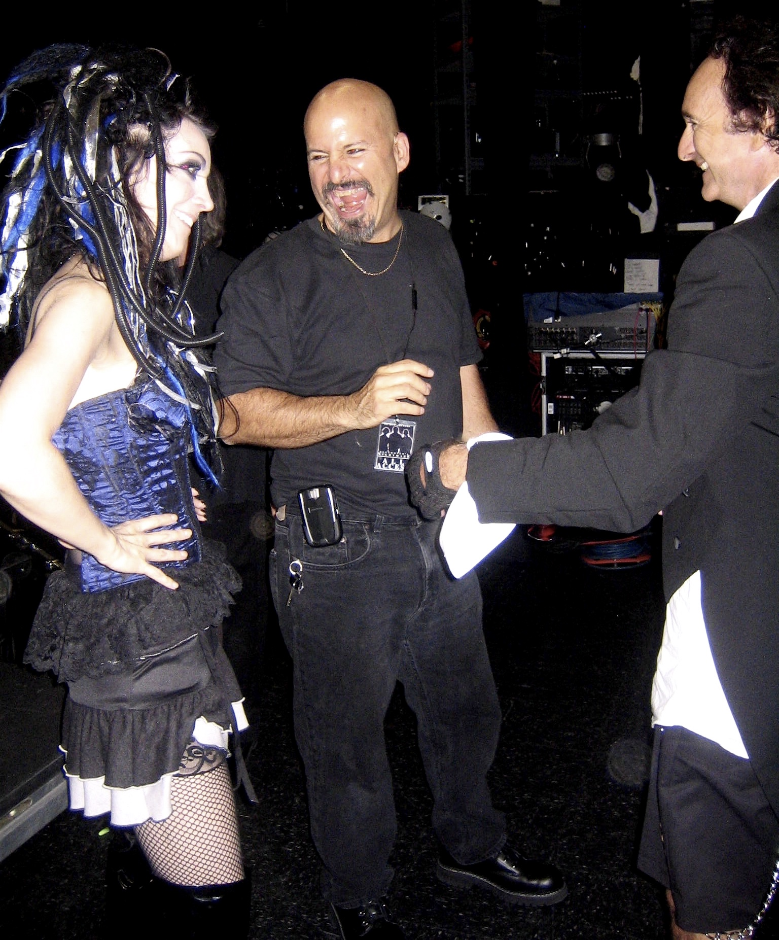 Rock artist has a laugh with Beethoven's Nightmare members Steve Longo and Ed Chevy backstage after GLAD & Sprint Relay's 2007 concert  Beethoven's Nightmare Live At The El Rey , produced by Bob Hiltermann, John Drouillard, and Natalie Drouillard.  Photo by Natalie Drouillard.
