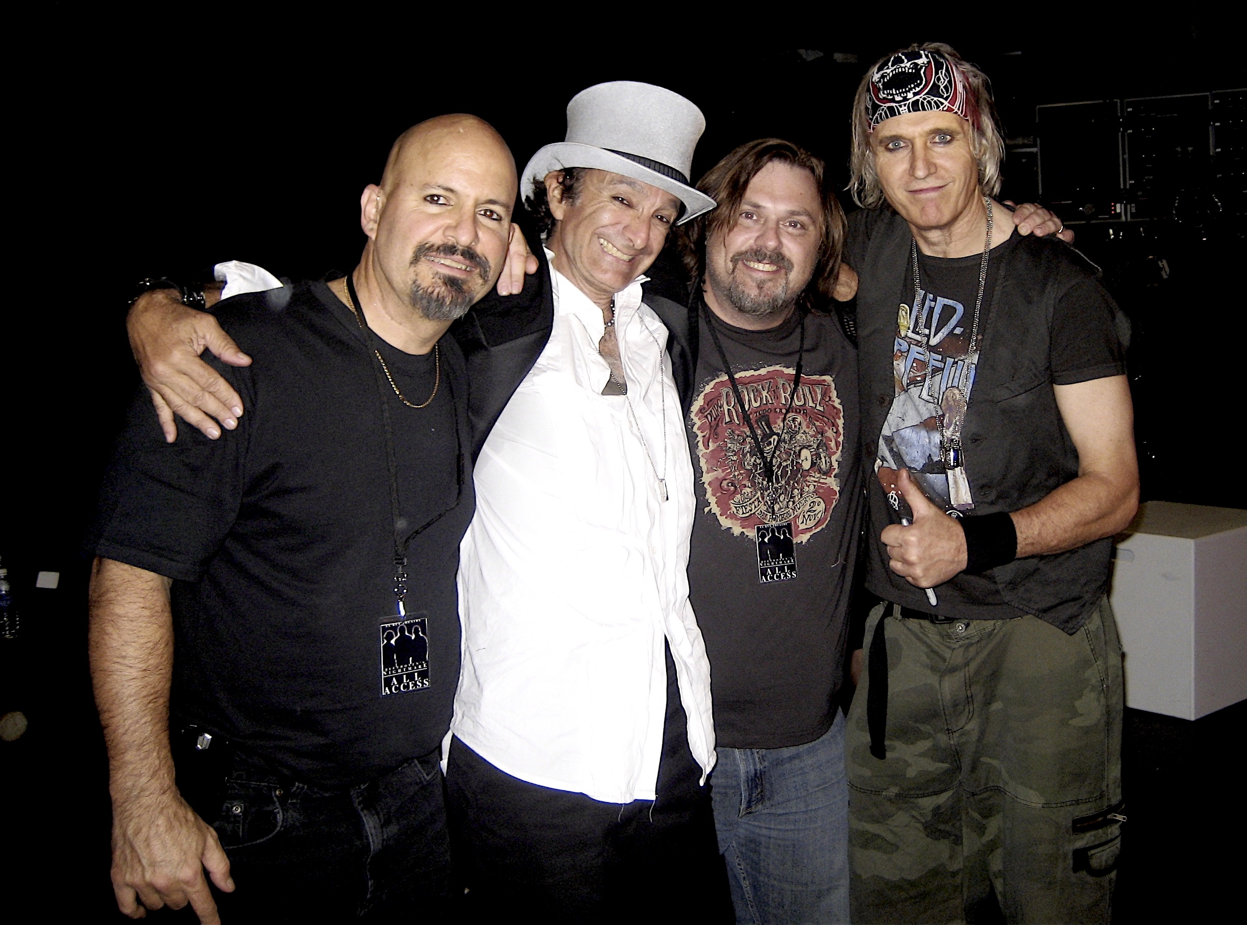 Beethoven's Nightmare members Steve Longo, Ed Chevy, and Bob Hiltermann with producer John Drouillard backstage after GLAD & Sprint Relay's 2007 concert  Beethoven's Nightmare Live At The El Rey , produced by Bob Hiltermann, John Drouillard, and Natalie Drouillard.  Photo by Natalie Drouillard.
