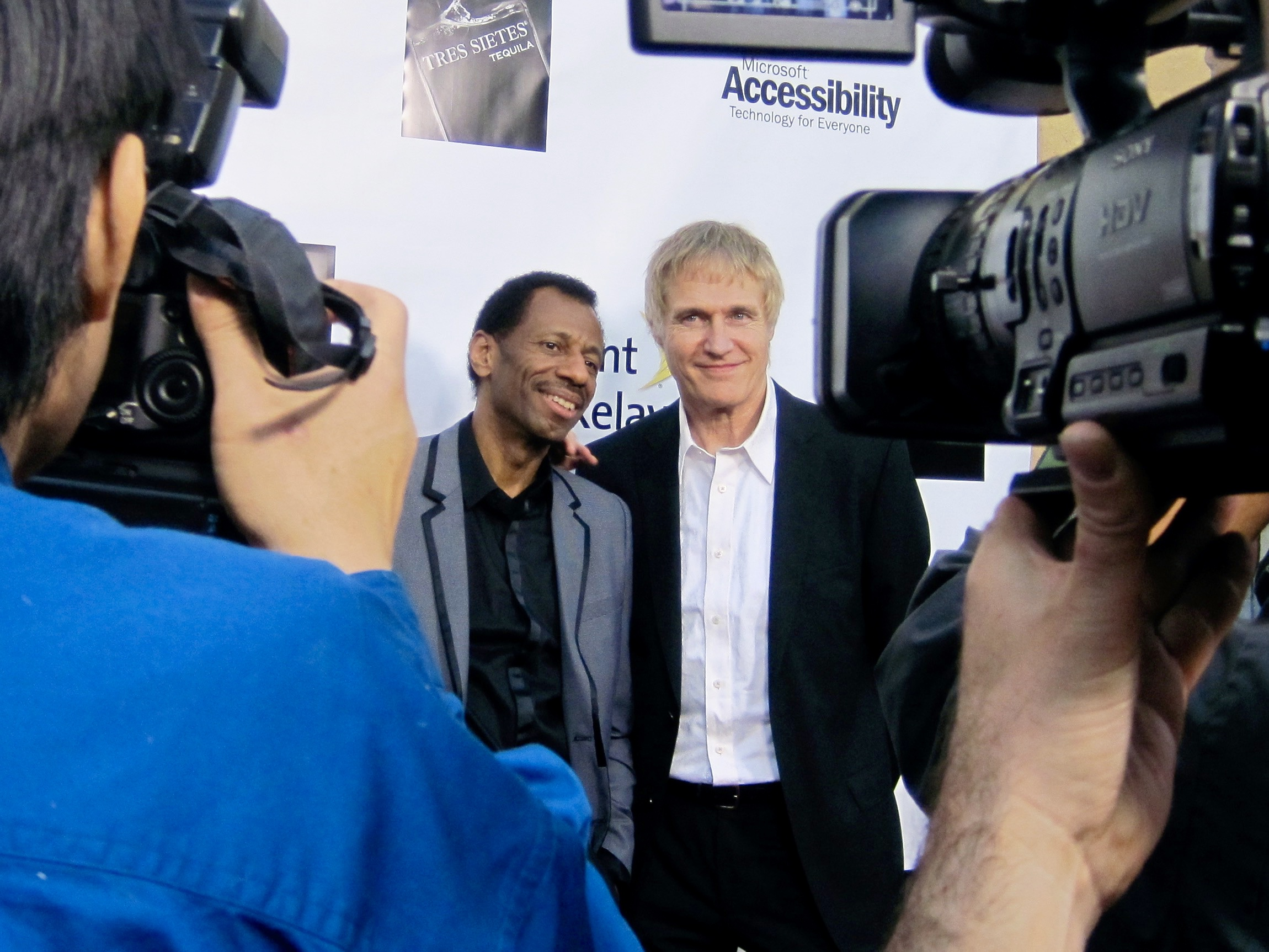 Actor CJ Jones and Beethoven's Nightmare drummer Bob Hiltermann at the Egyptian Theatre for the premiere of Wordplay, Inc.'s feature documentary  See What I'm Saying , directed by Hilari Scarl.  Photo by John Drouillard.