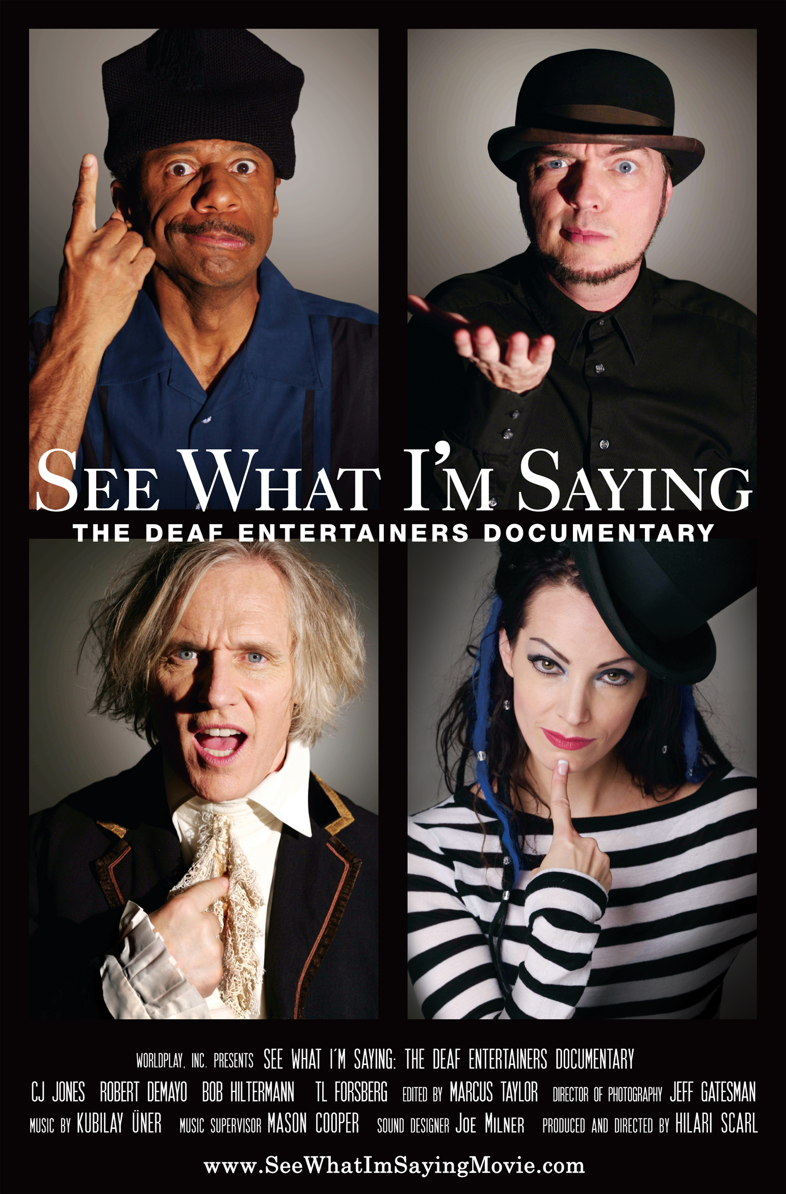 Poster for Wordplay, Inc.'s feature documentary  See What I'm Saying , directed by Hilari Scarl.