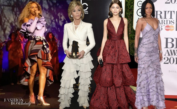 celebrities with ruffles and frills