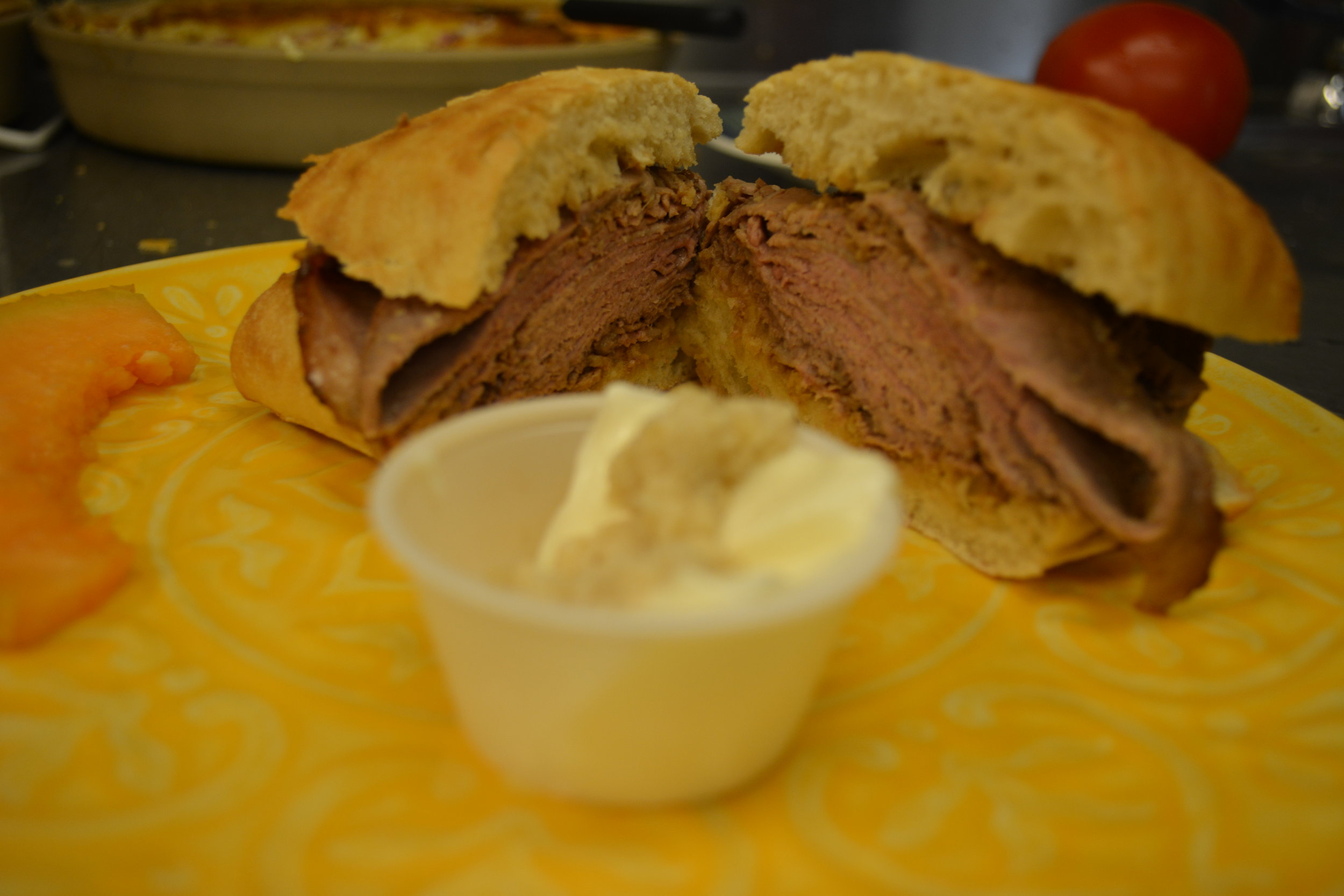 Tashko's Roast Beef - Slow cooked Black Angus roast beef sliced and piled high, with horseradish & mayonnaise on side