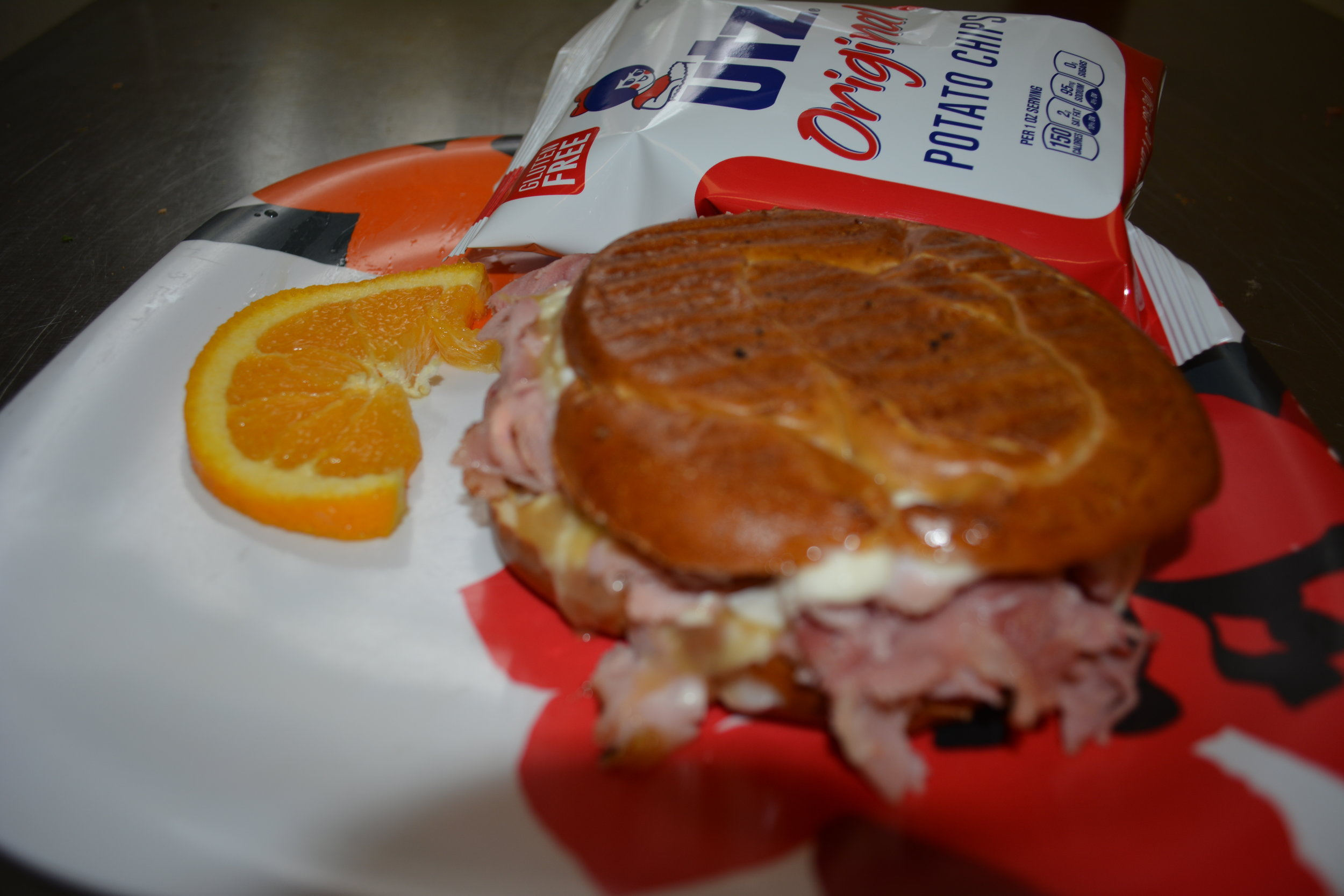 Stevie B Hot Hammer -  Baked ham and farmers cheese, with mayonnaise and a sweet honey mustard