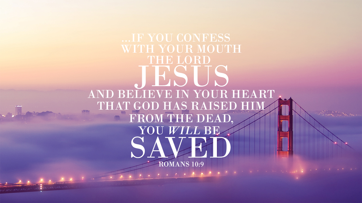 Bible scripture in Romans talking about Jesus with beautiful purple cloudy bridge background photography