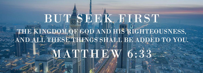 international city skyline sunset seek God first scripture