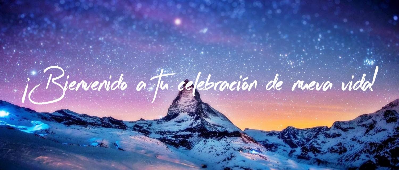 bandera de celebración con la montaña rocosa y la galaxia estrellada fondo de fotografía
