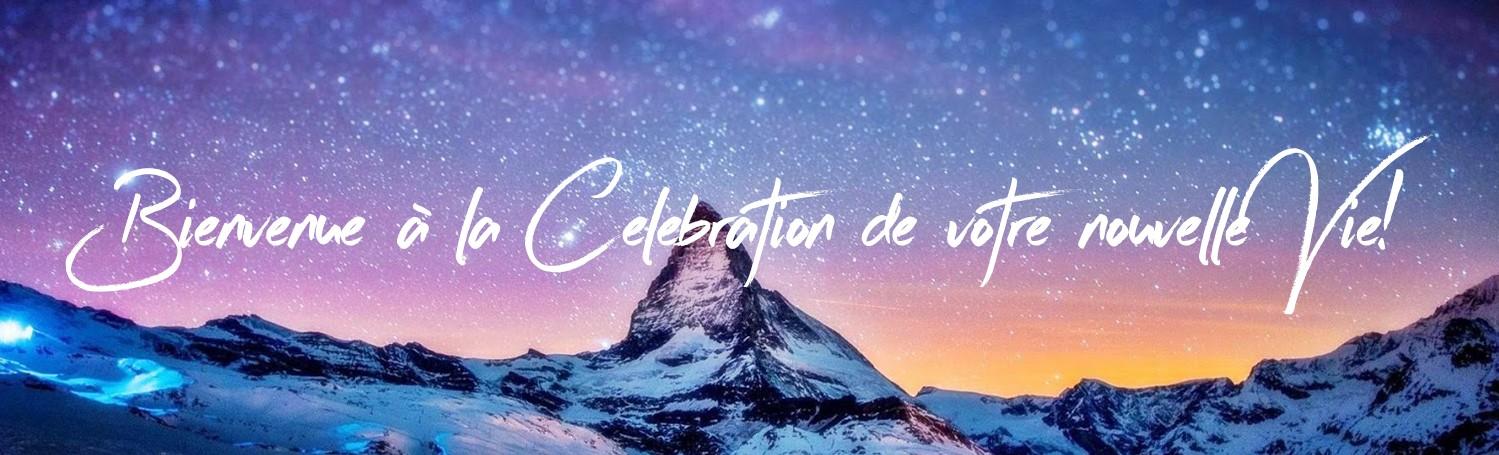 Bannière de célébration avec Rocky Mountain et Starry Galaxy background photography