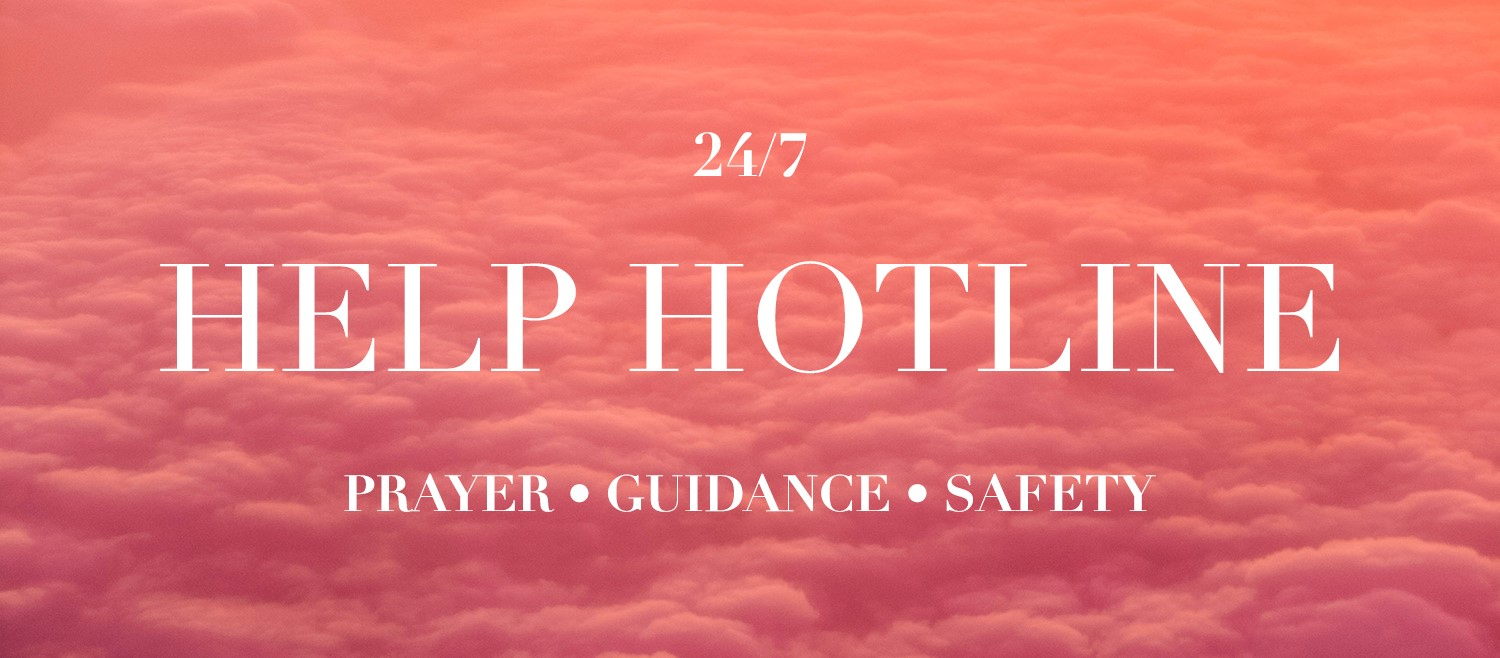 background for help hotline showing beautiful pink clouds during sunset